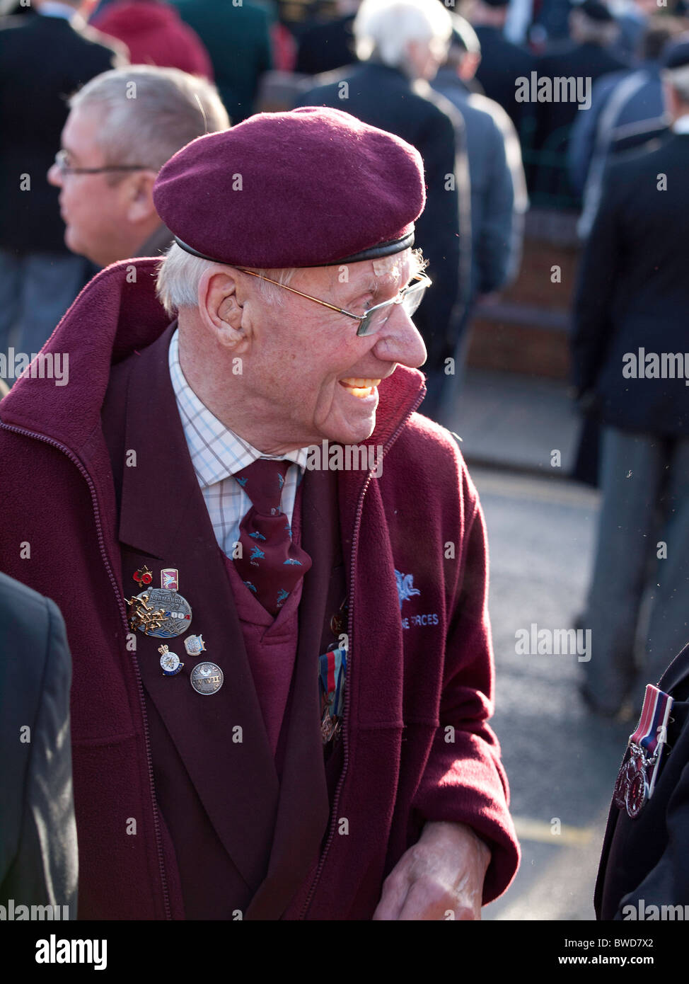 Old soldier a veteran of the Normandy landings at the annual Remembrance Day Parade in Redcar 2010 - Stock Image