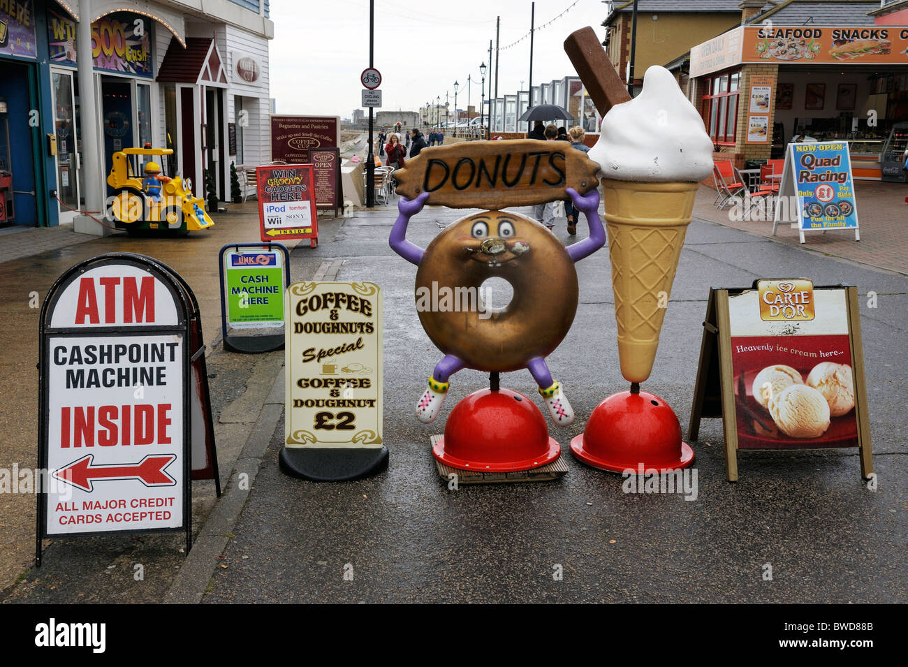 Advertisement signs on Southsea seafront, Hampshire, UK Stock Photo