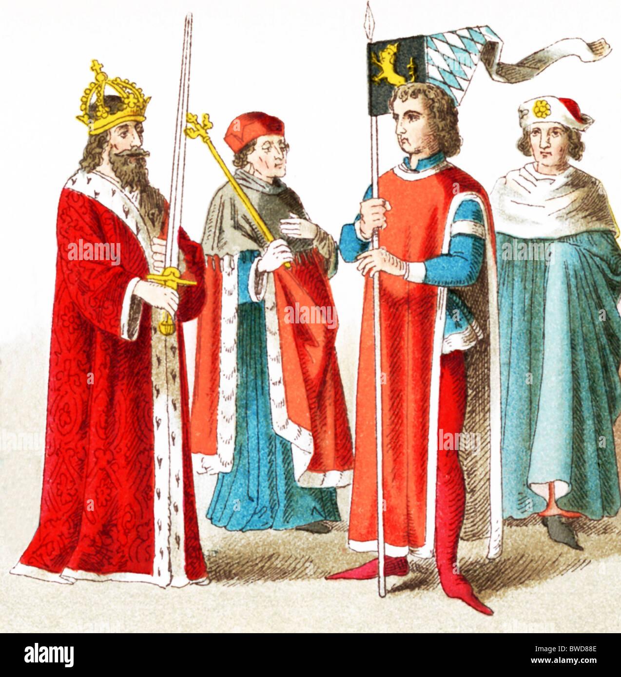 The figures pictured here represent Germans: A.D. 1400–1450:Emperor Sigismund, Electer Bishop, Duke of Bavaria, - Stock Image