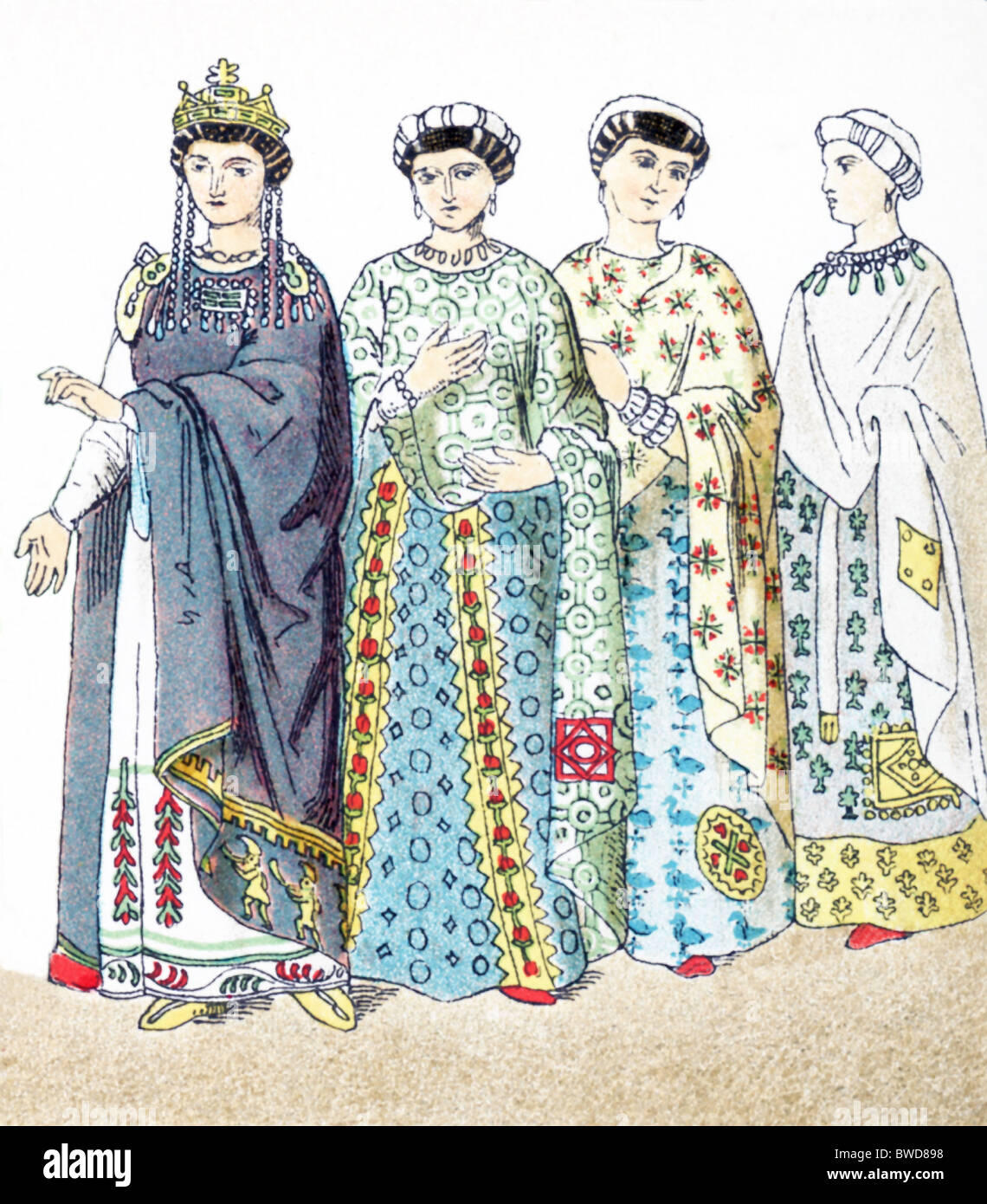 The figures represent Byzantines between A.D. 300 and 700: Empress Theodora and three noblewomen. - Stock Image