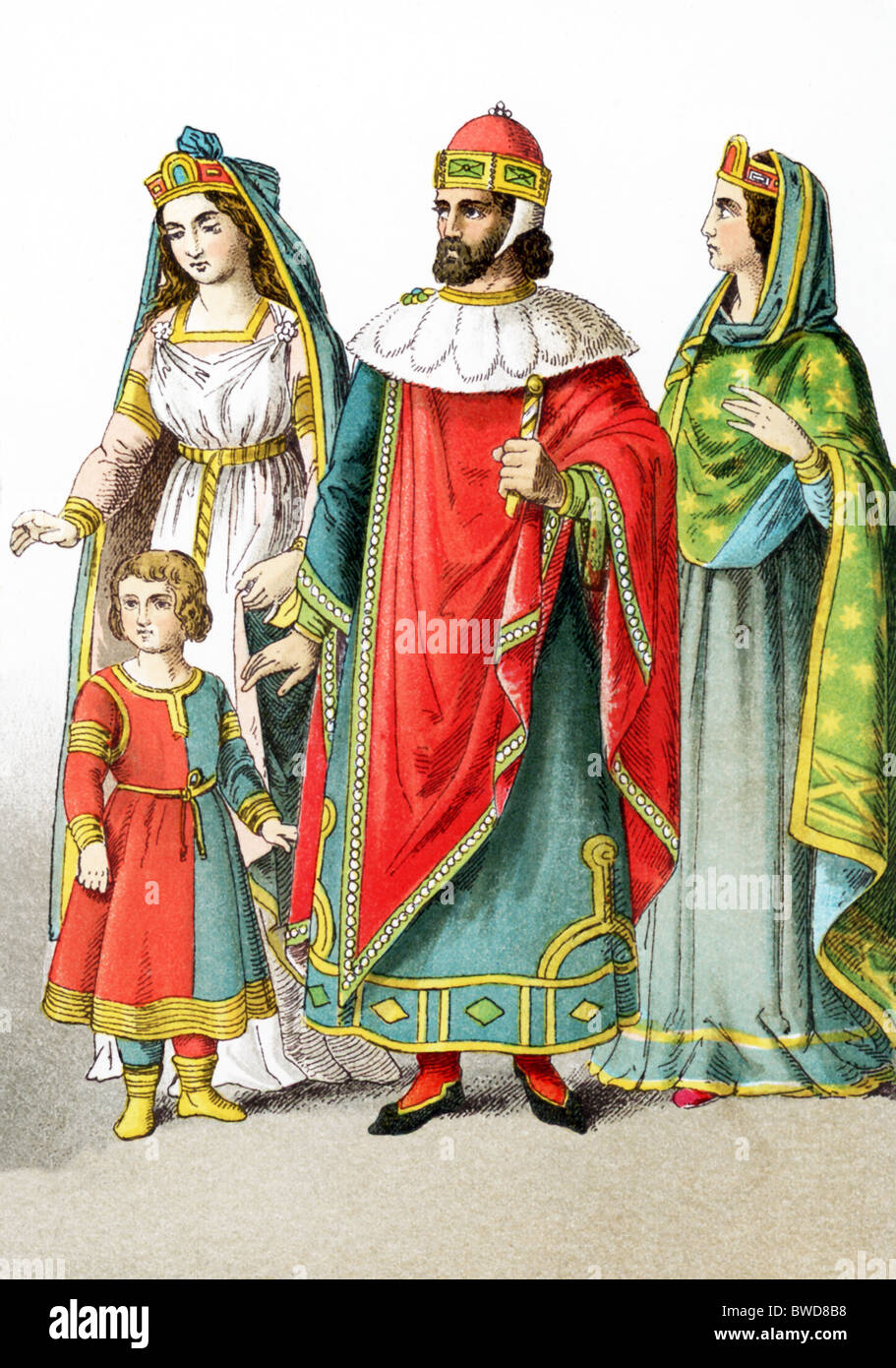 Venetian nobles around A.D. 1200: a Venetian lady of rank with a young boy, a doge of Venice, a Venetian lady of - Stock Image