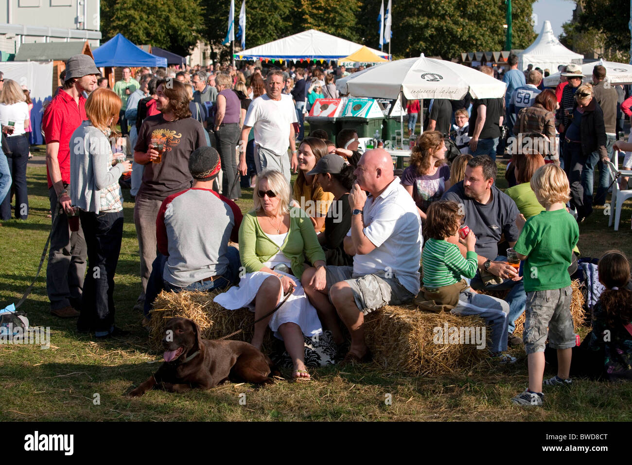 A community village party of residents celebrates Combe Down from falling into the old underground stone mines. Stock Photo
