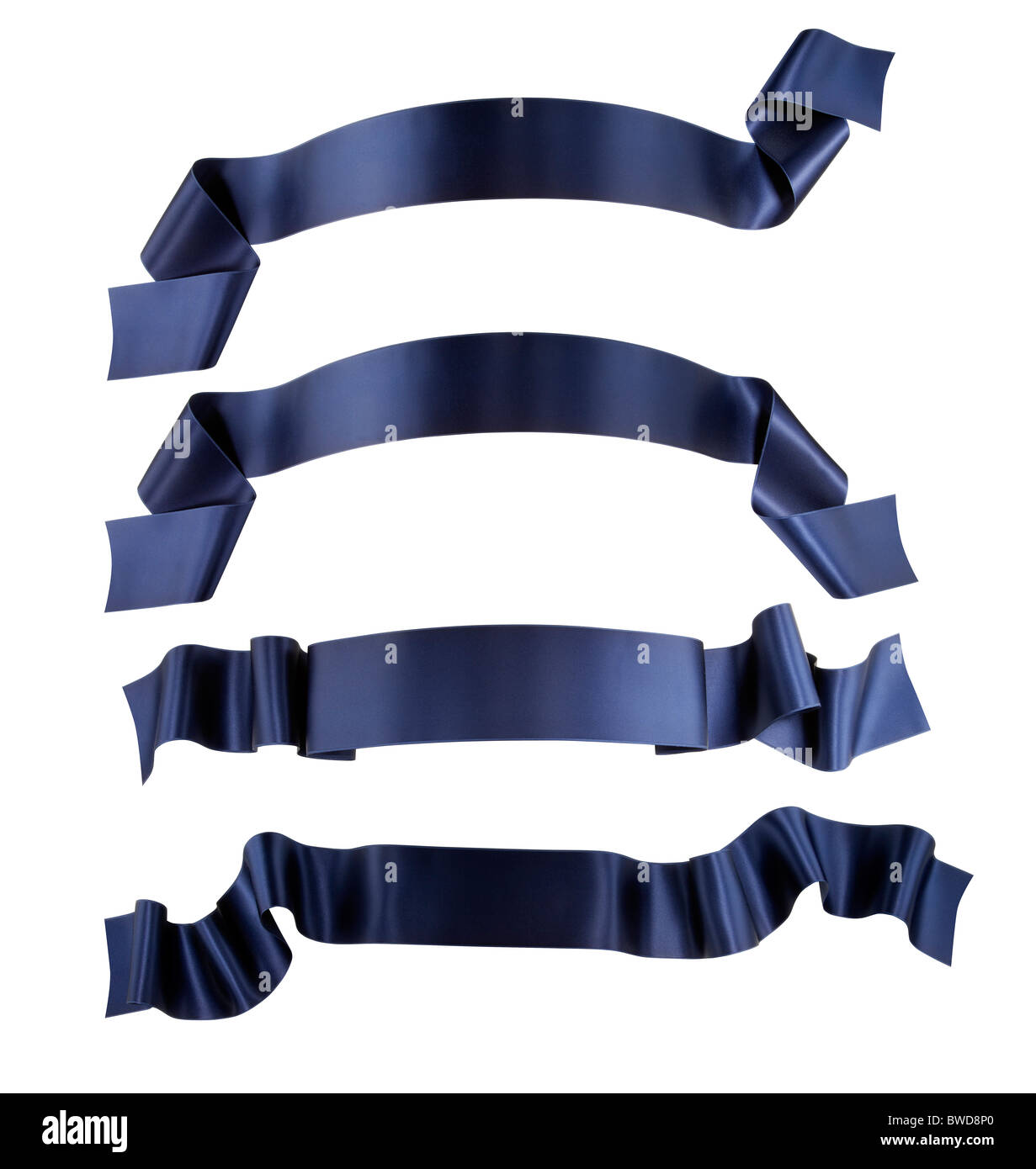 Elegance blue ribbon banner collection - Stock Image