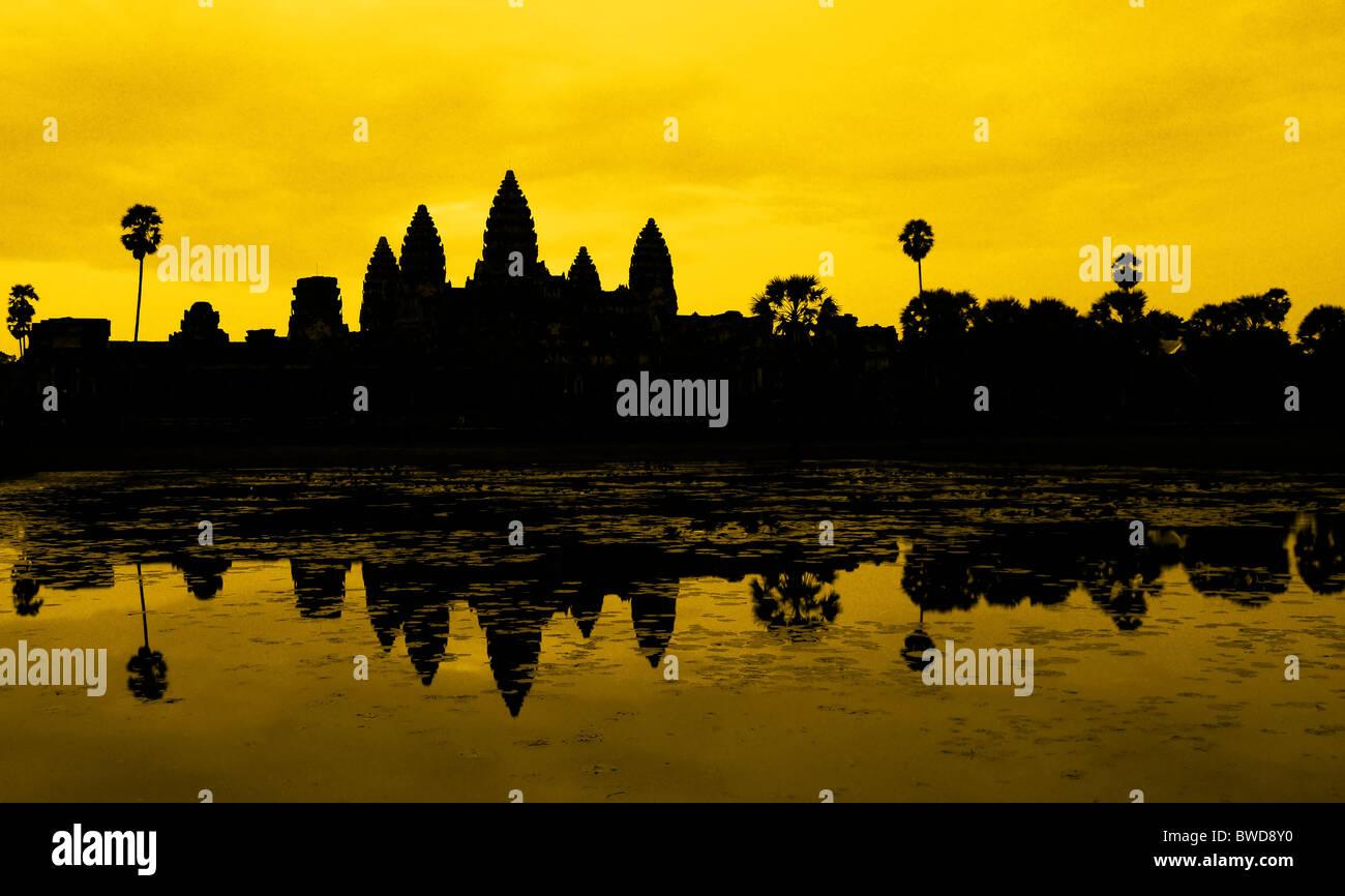 Ankor Wat, photo taken at sunrise - Stock Image