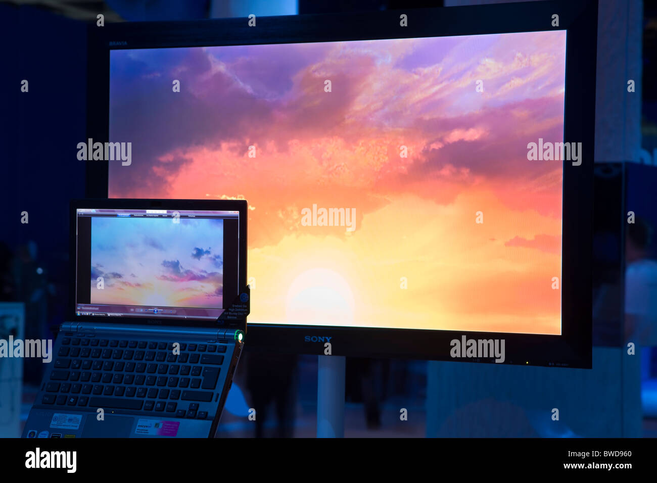 Widescreen big monitor and laptop, Sony modern multimedia system - Stock Image