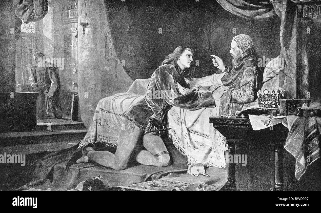 Henry IV (1050–1106) succeeded his father Henry III of Germany in A.D. 1056. He is shown here on his deathbed at - Stock Image