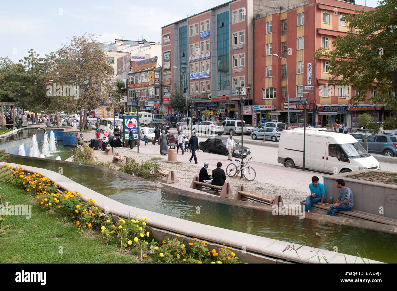 Iskele Caddesi, one of the main thoroughfares in the city of Van, in southeast Turkey. - Stock Image