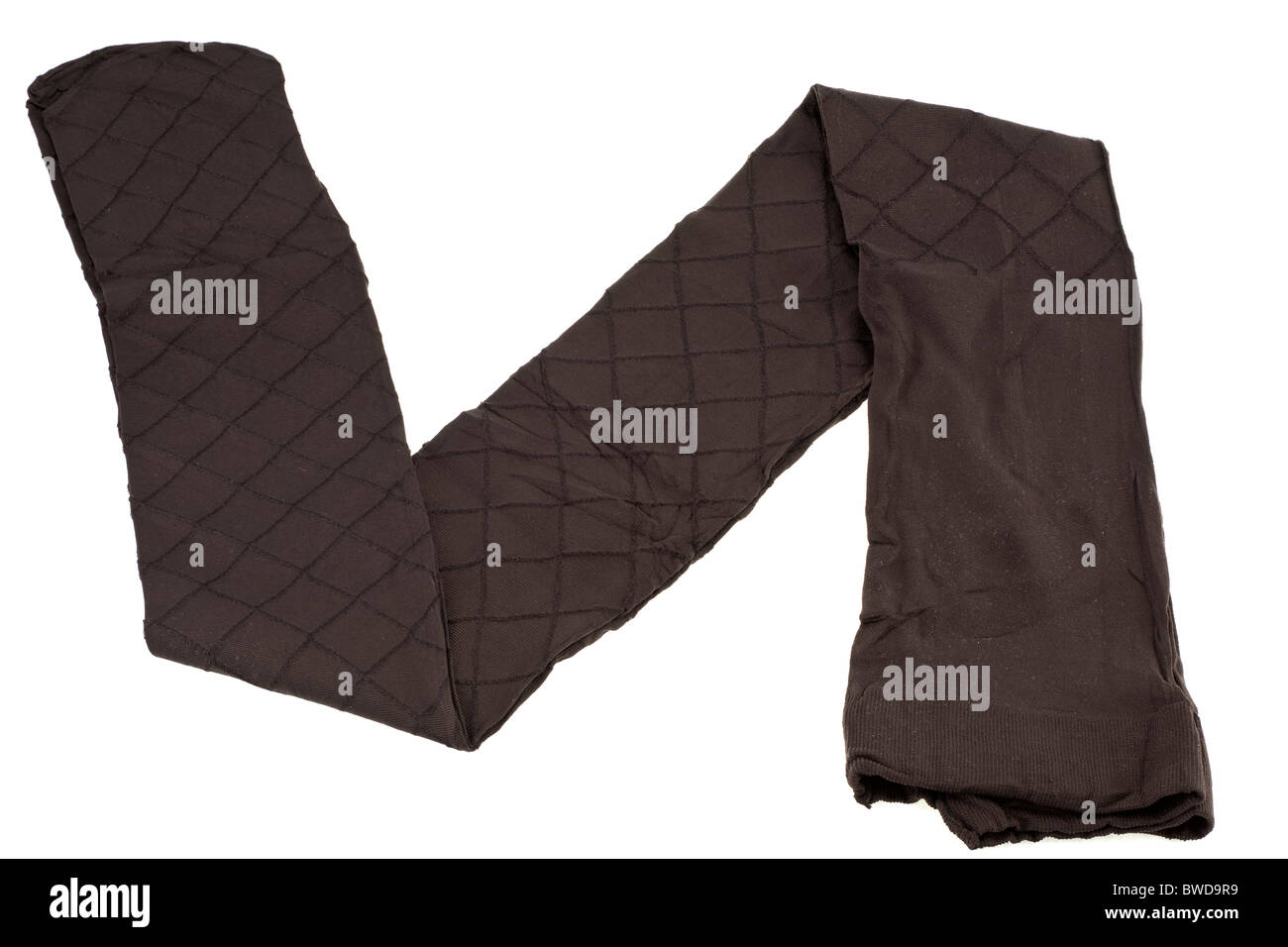One pair of ladies brown diamond patterned tights - Stock Image