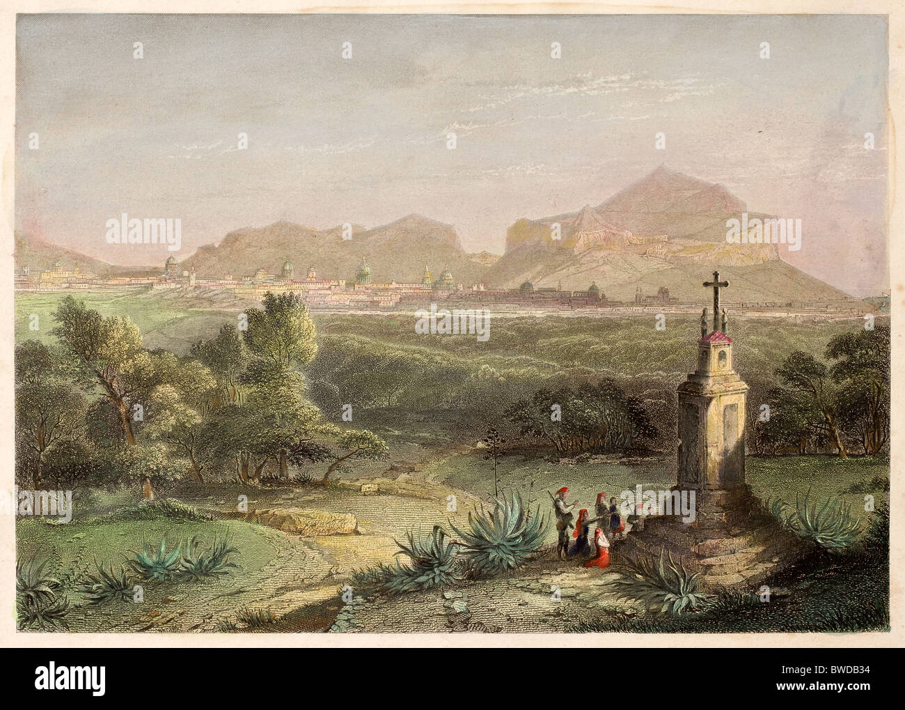 Old print, datable to the 19th century,  shows image of a religious monument near Palermo, Italy - Stock Image