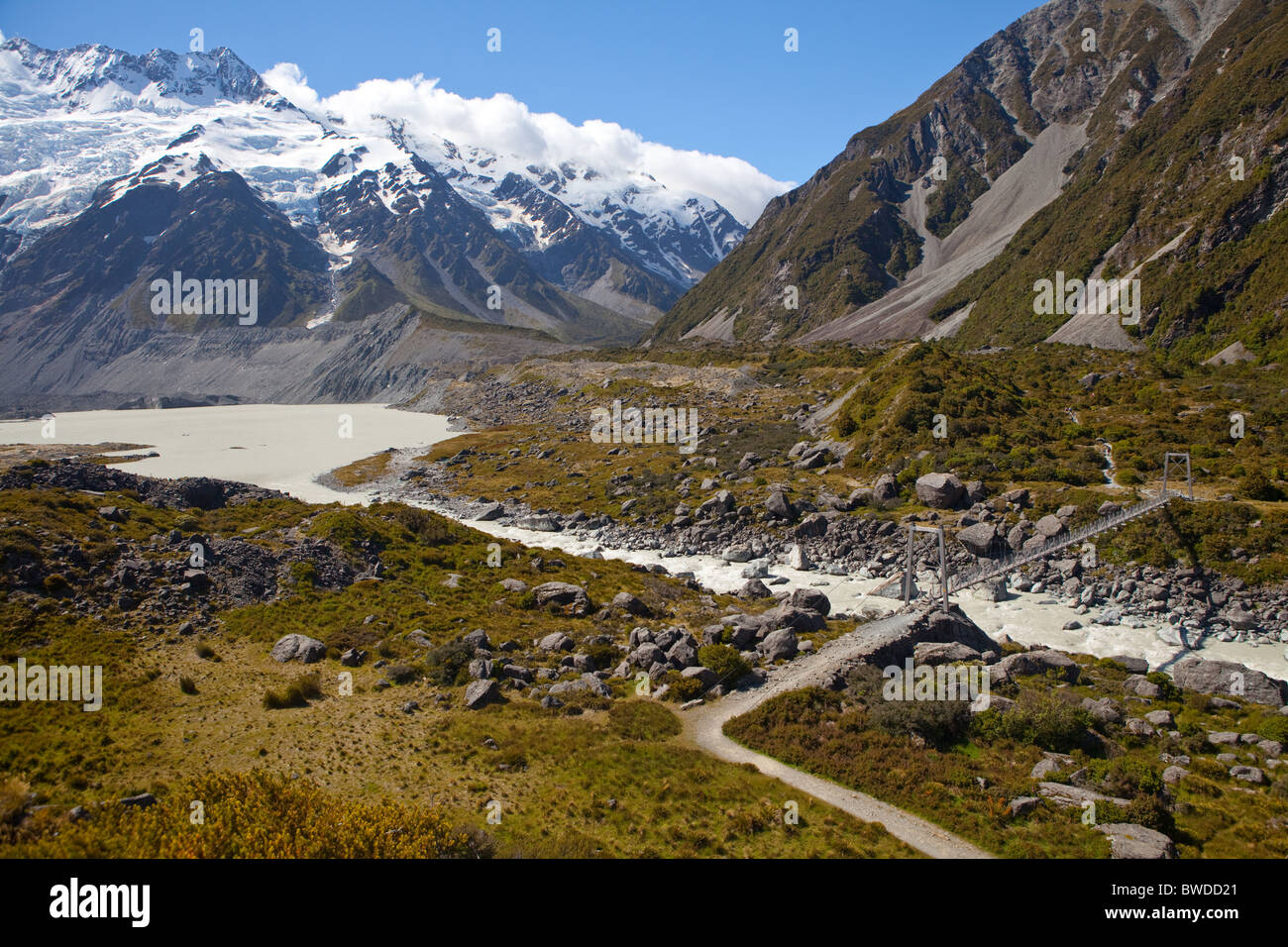Looking up the Hooker Valley with Mueller Lake on the left - Stock Image