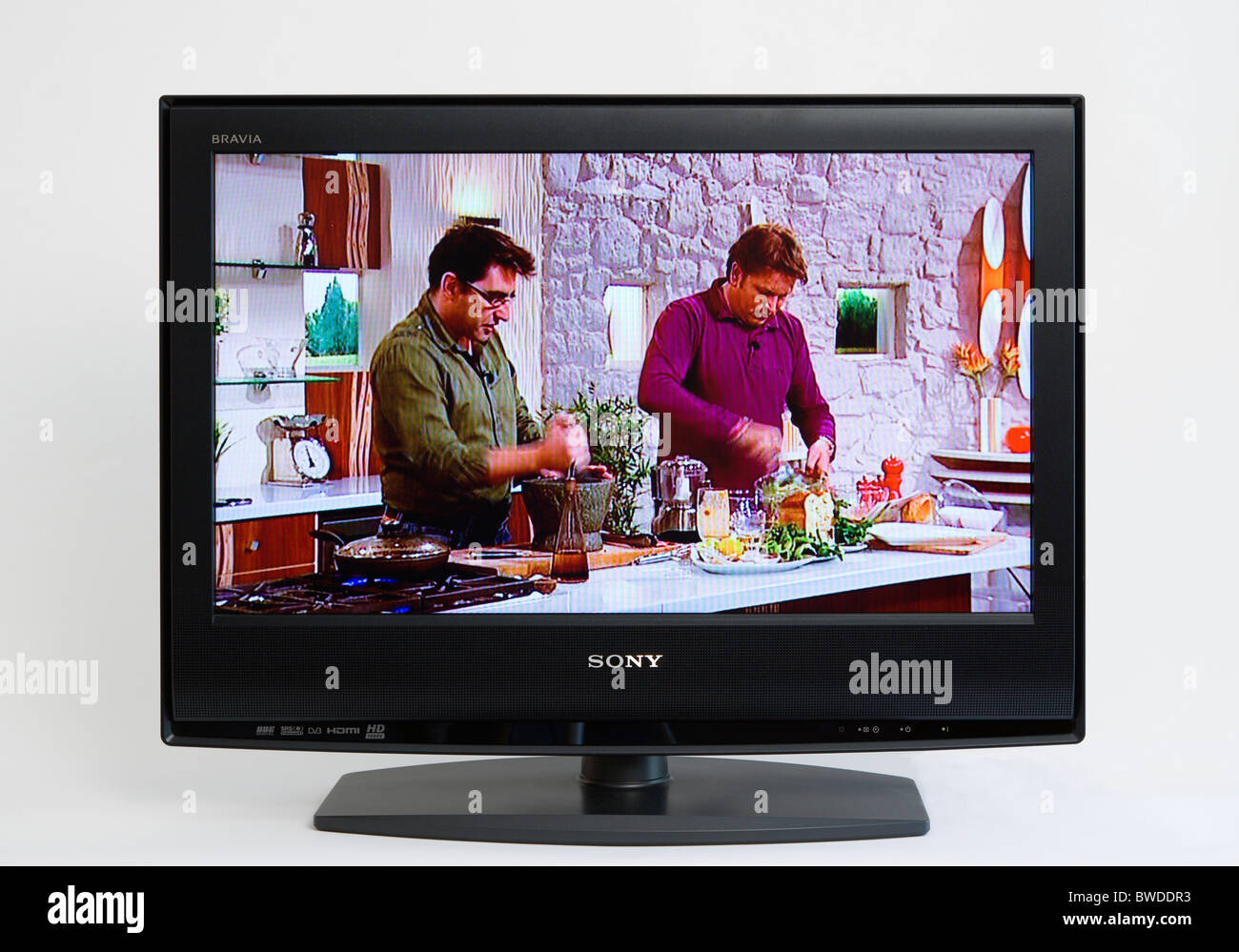 Communications, Media, Television, Sony Bravia Wide Flat Screen TV on a white background showing a cookery programme - Stock Image