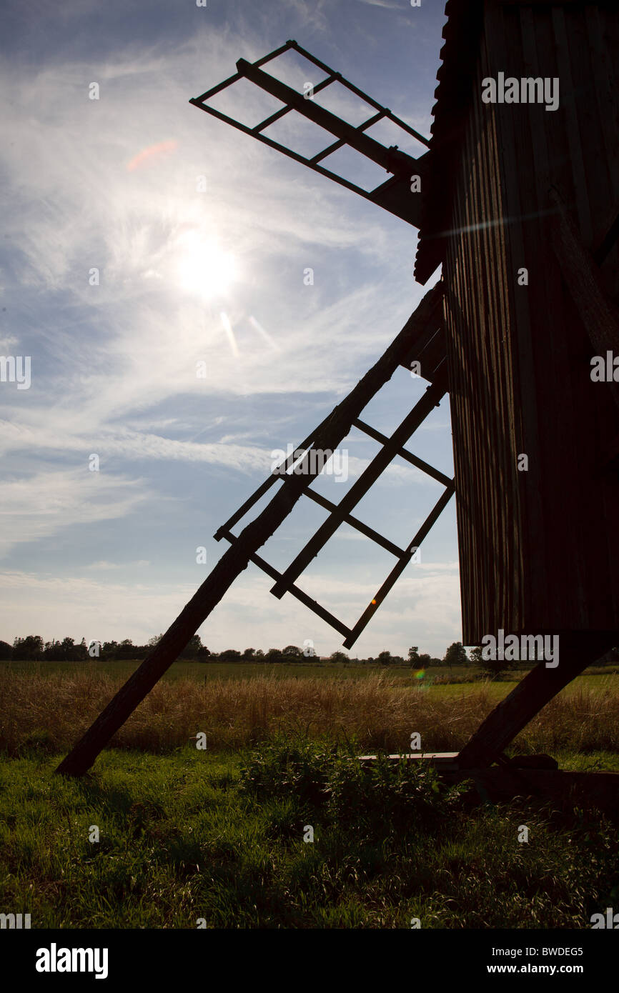 Old wind mill sillouette - Stock Image