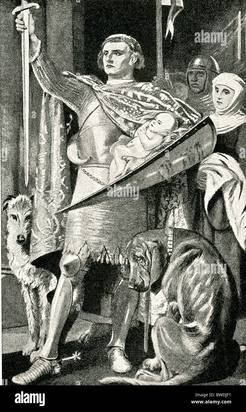 Edward I of England shows the court his infant son Edward (later Edward II), the first Prince of Wales. - Stock Image