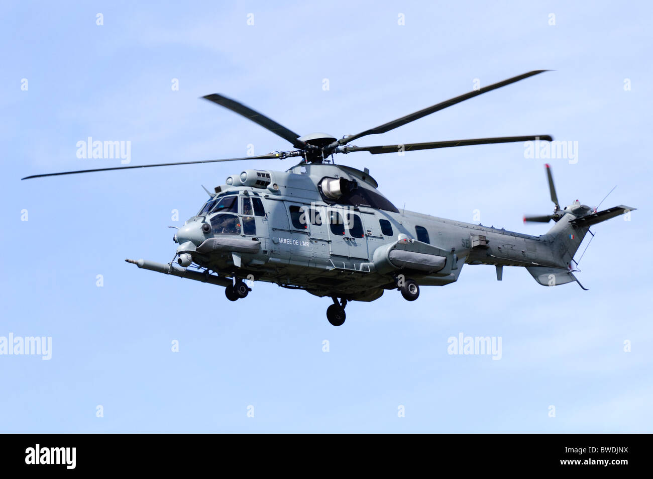 Eurocopter EC-725R2 Caracal on approach for landing at RAF Fairford - Stock Image