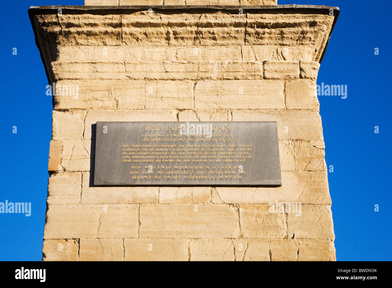 Ripon Horn Plaque on the Plinth of the Market Cross Ripon North Yorkshire England - Stock Image