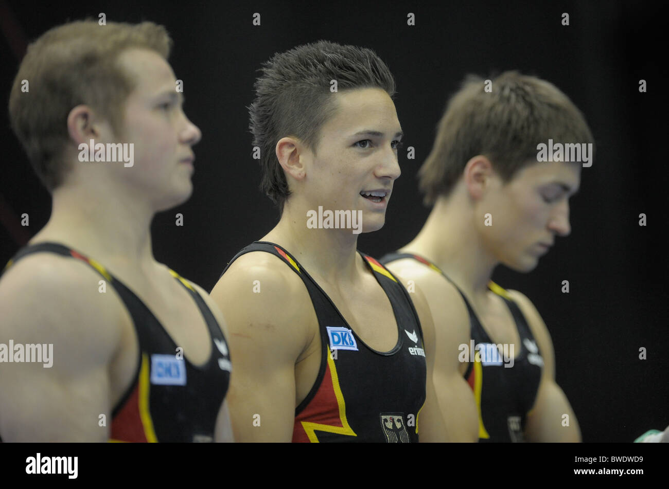 European Gymnastic Championships 2010.Birmingham NIA. Mens Podium Training. Photos by Alan EDwards Stock Photo