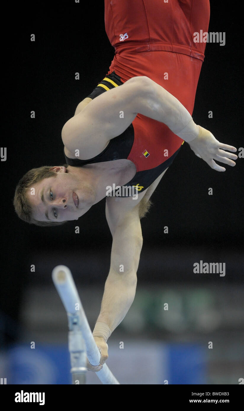 European Gymnastic Championships 2010.Birmingham NIA. Mens Podium Training. Photos by Alan EDwards Stock Photo