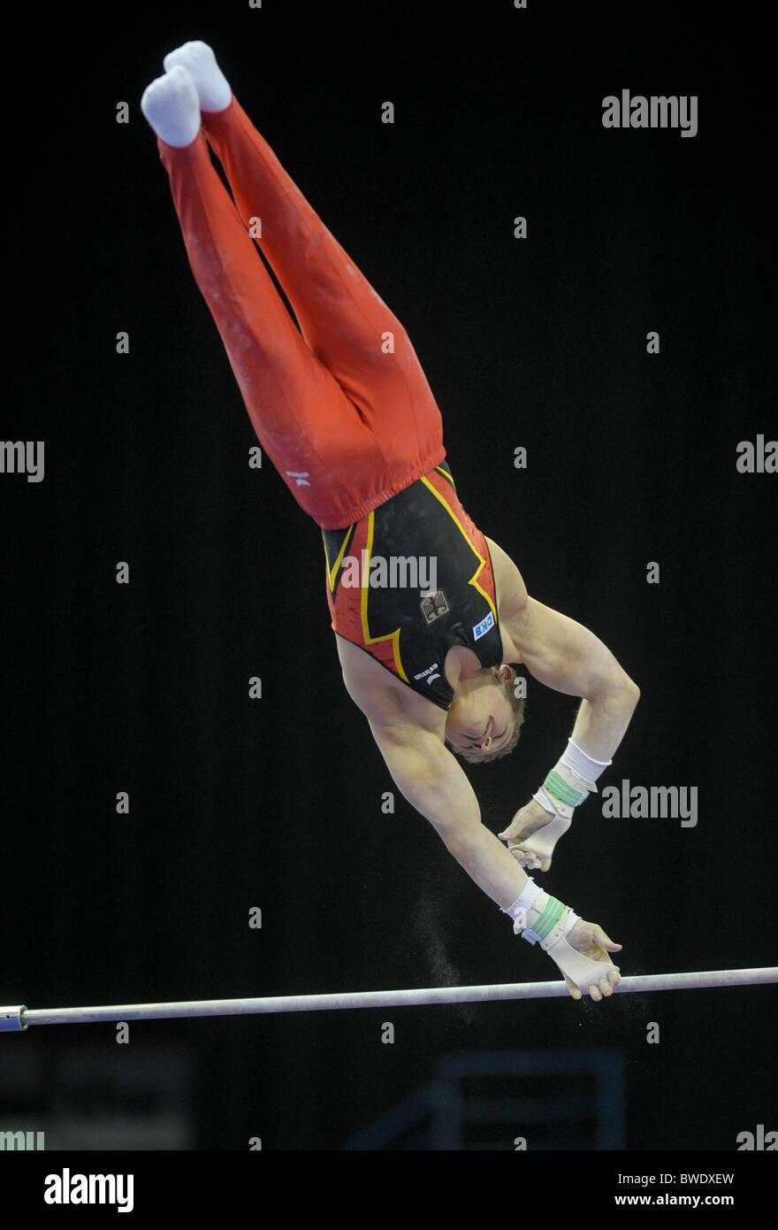 European Gymnastic Championships 2010.Birmingham NIA. Mens Podium Training. Photos by Alan EDwards - Stock Image