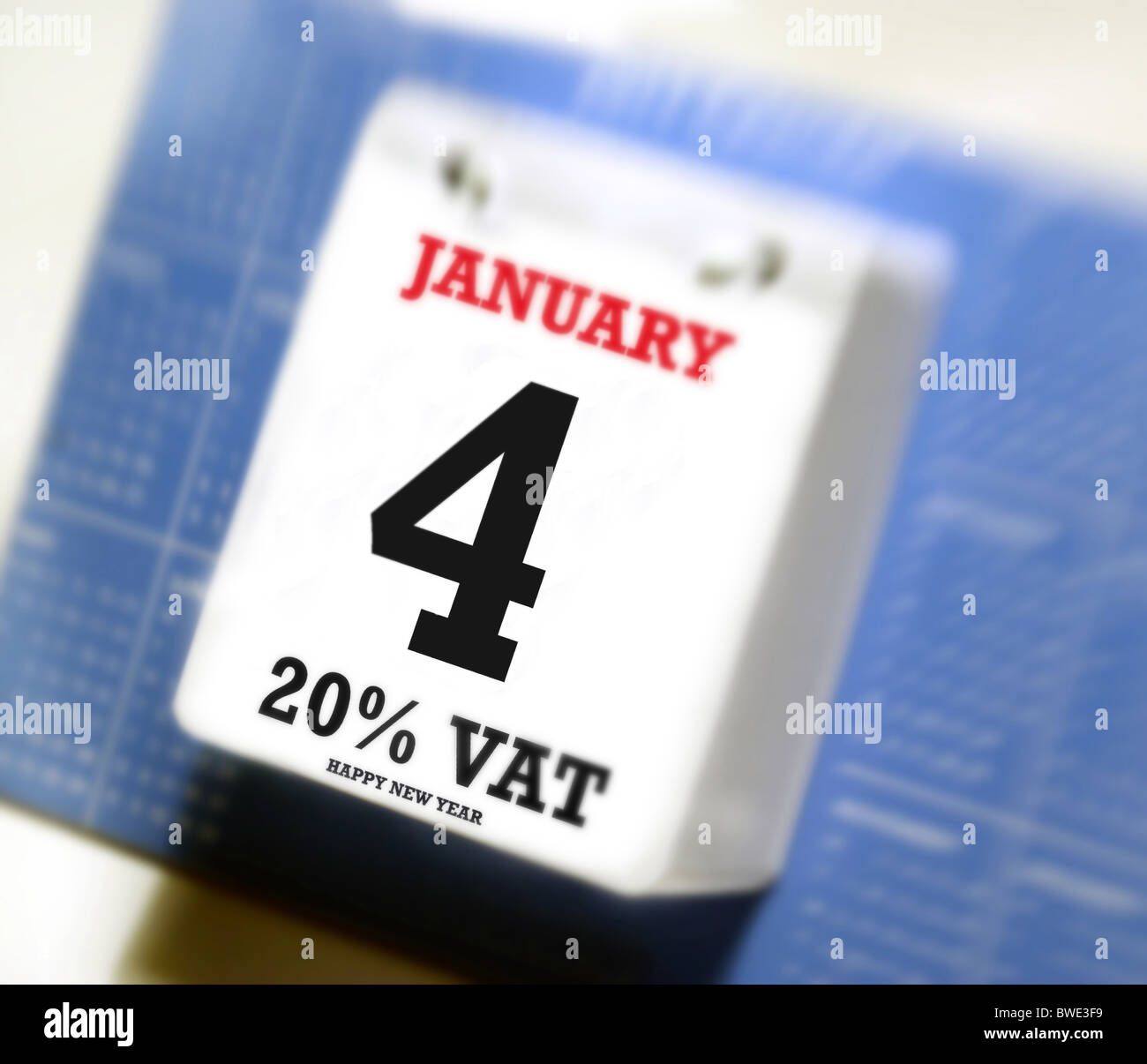 Value added tax increase, reminder showing on a desk calender ( 4th of January ) 20% V.A.T. . Part of the UK austerity - Stock Image