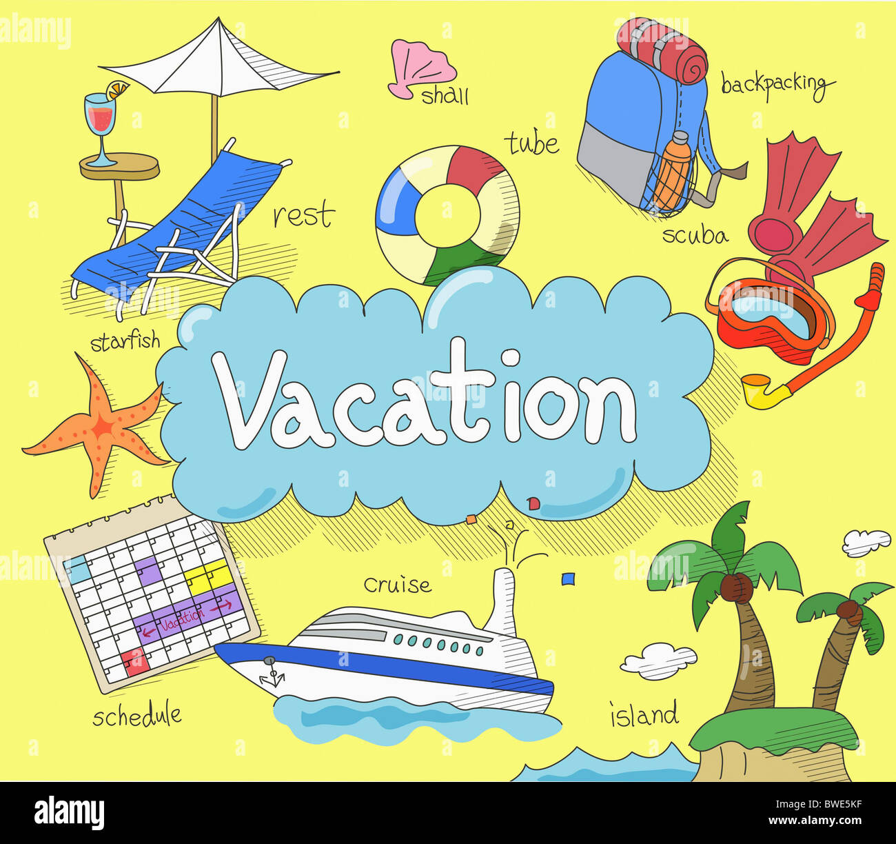 illustration of vacation time - Stock Image