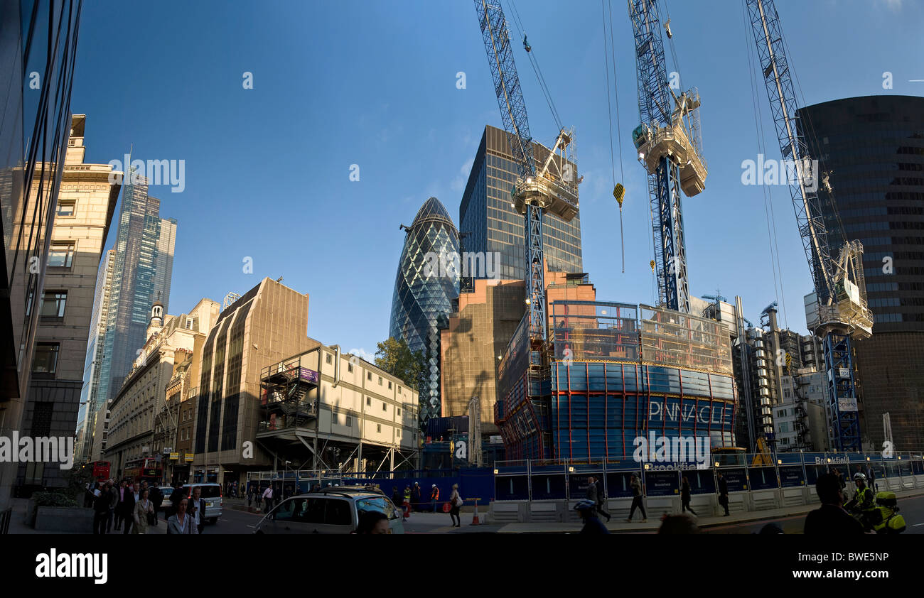 Panorama of Bishopsgate and the new Pinnacle building under construction in the City of London, UK - Stock Image
