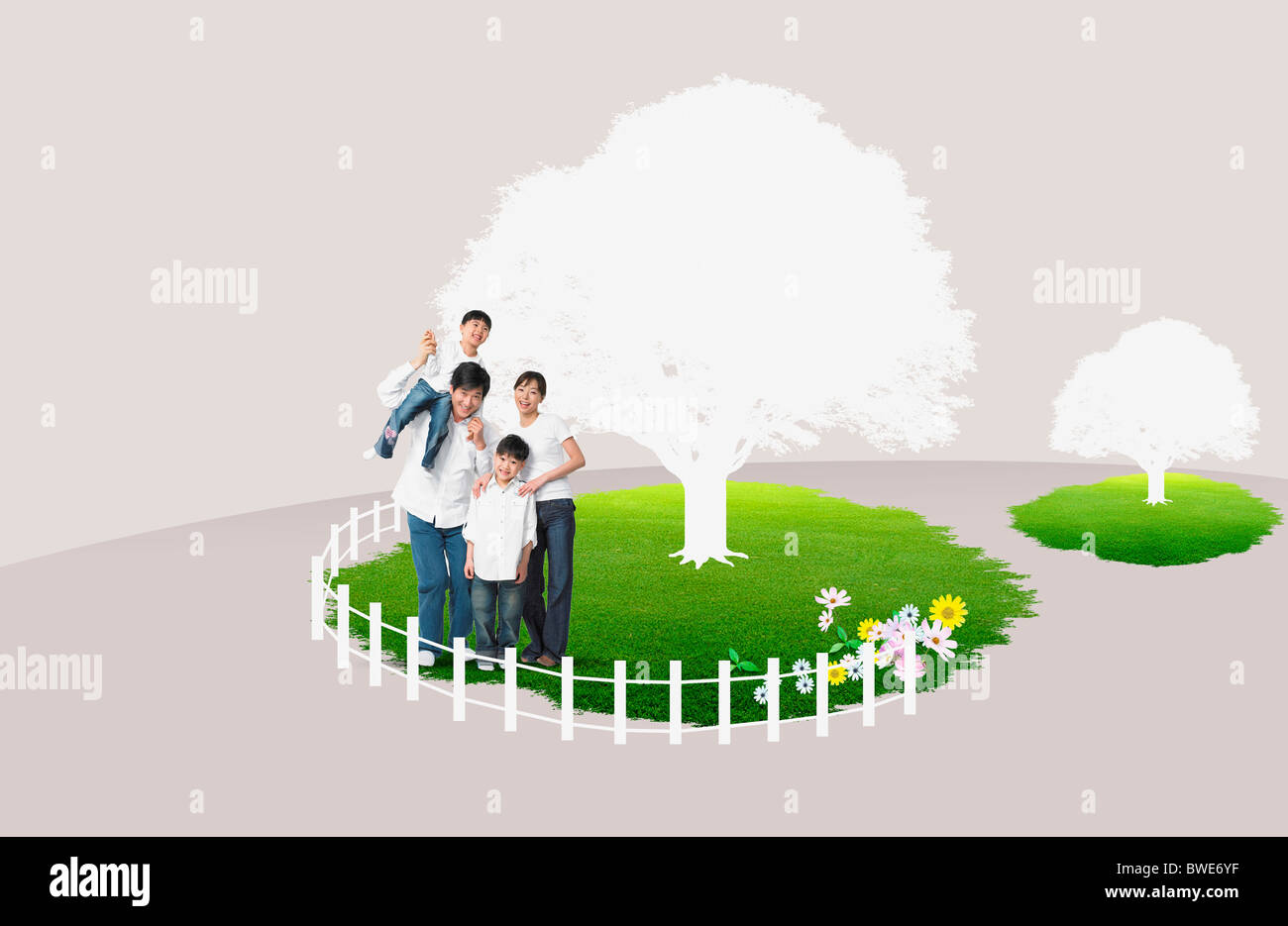 family in eco friendly background - Stock Image