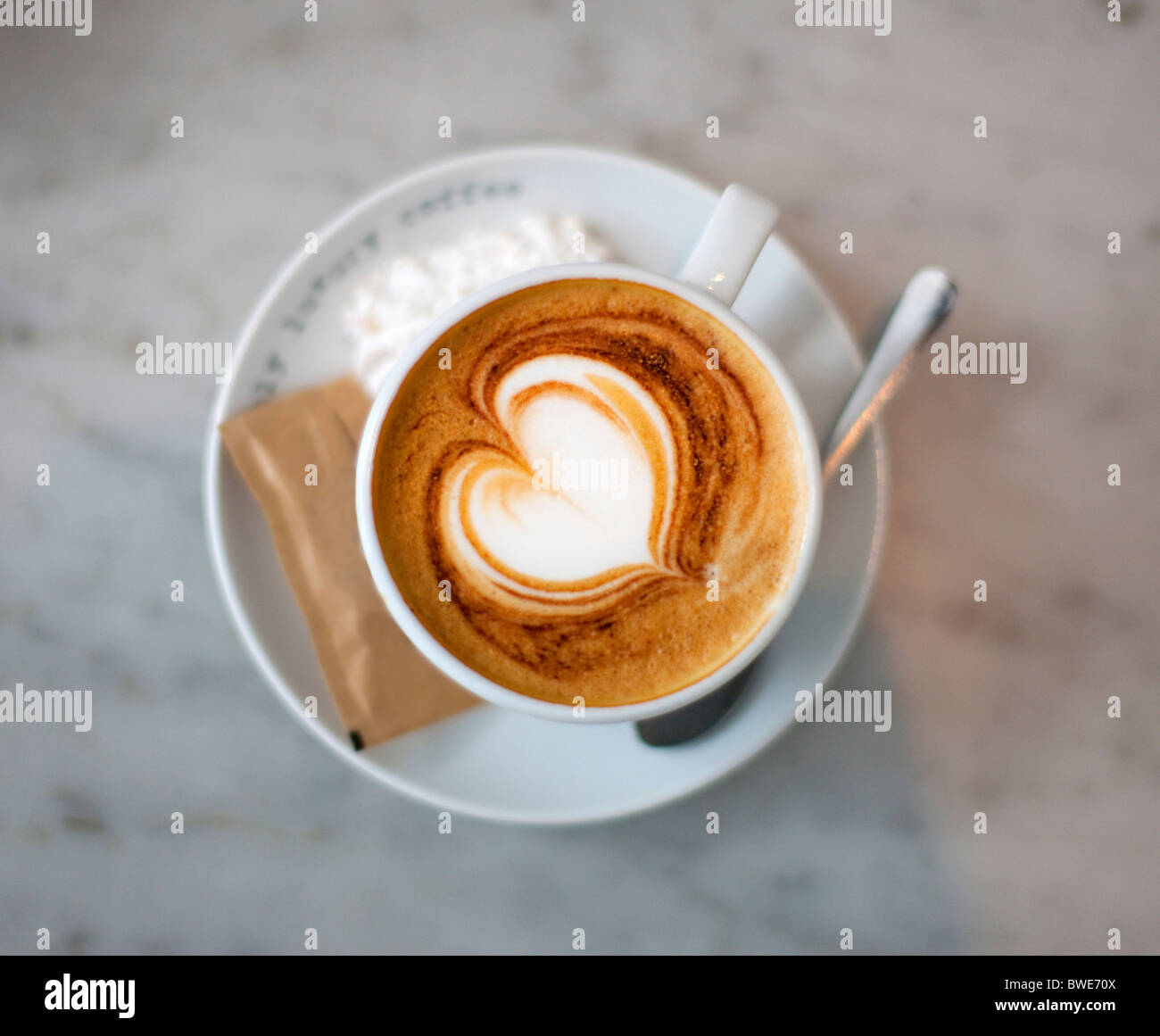 Cappuccino with heart - Stock Image