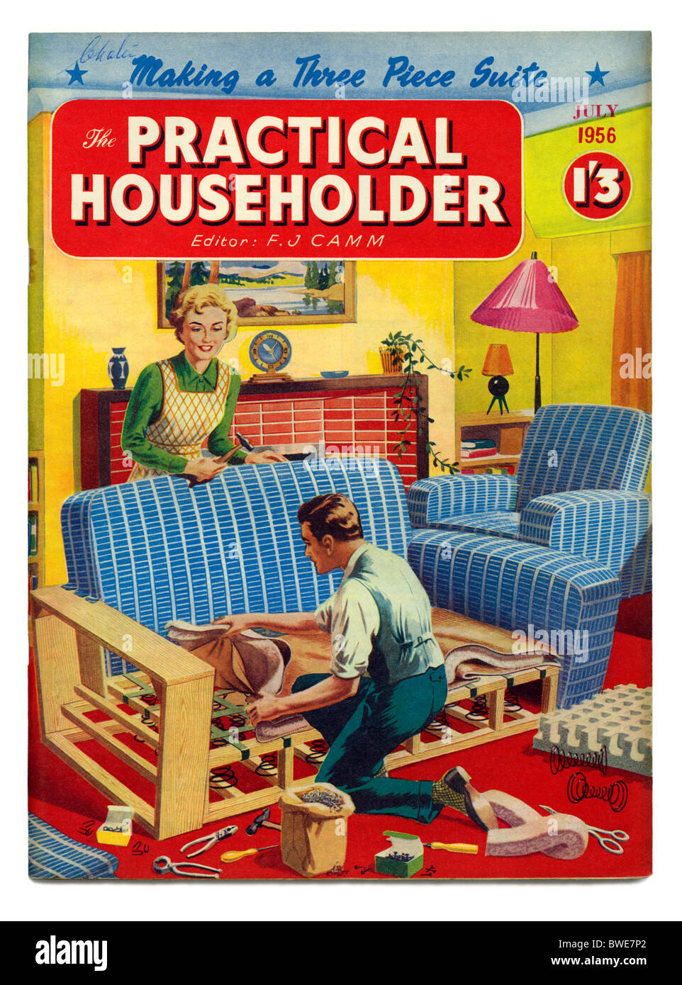 Cover of Practical Householder magazine, July 1956, featuring upholstering a three piece suit - Stock Image