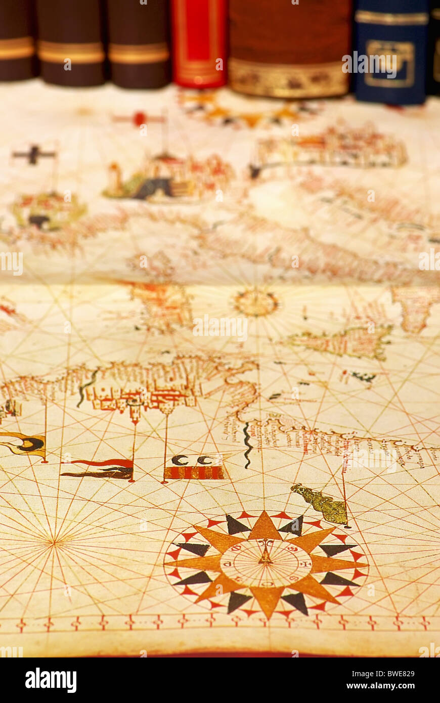 Portuguese old map and books stock photo 32890433 alamy portuguese old map and books gumiabroncs Gallery