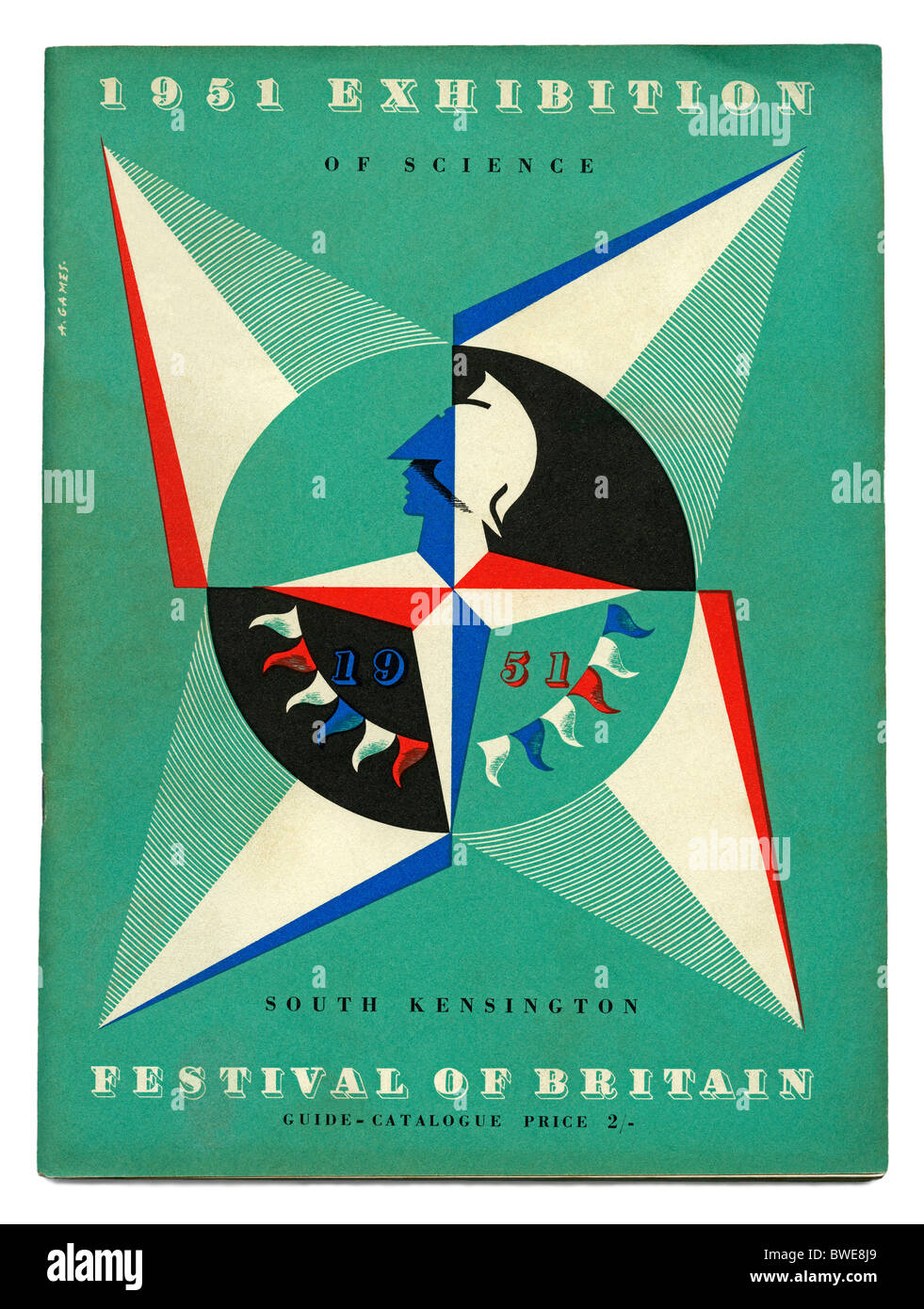 Cover of the official guide book to the 1951 Festival of Britain Exhibition of Science, South Kensington, London - Stock Image