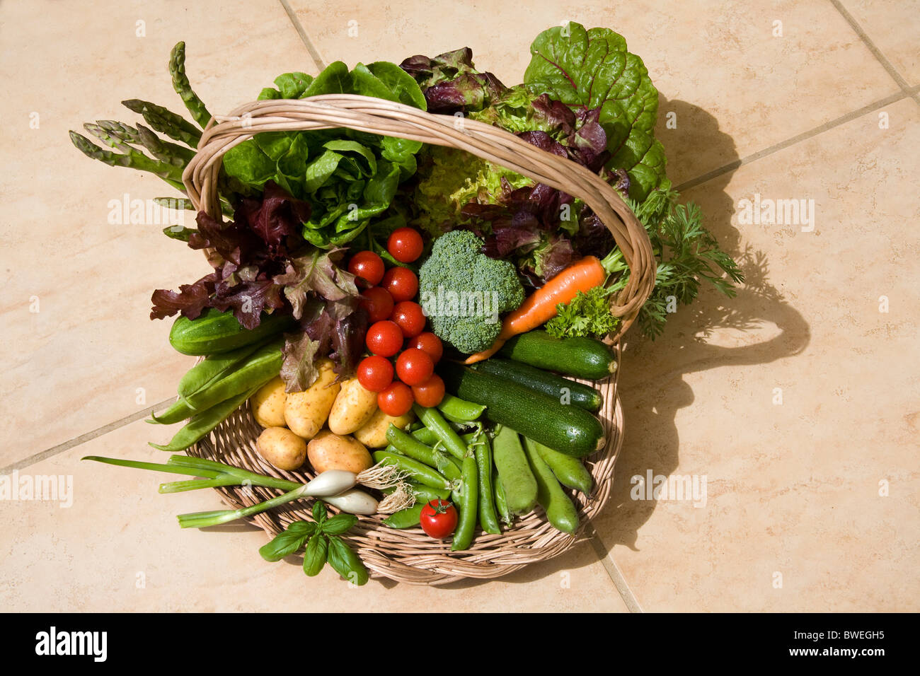 Delicious locally grown freshly picket British spring and summer vegetables in a basket on a tile floor in Weald - Stock Image