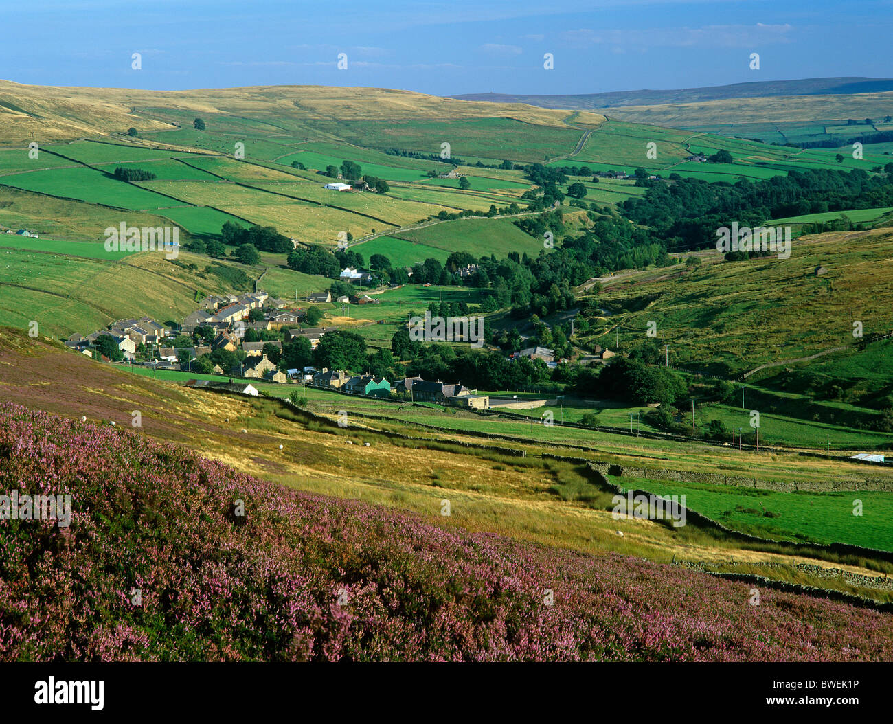 A late summer landscape view of Rookhope village in Weardale, County Durham - Stock Image