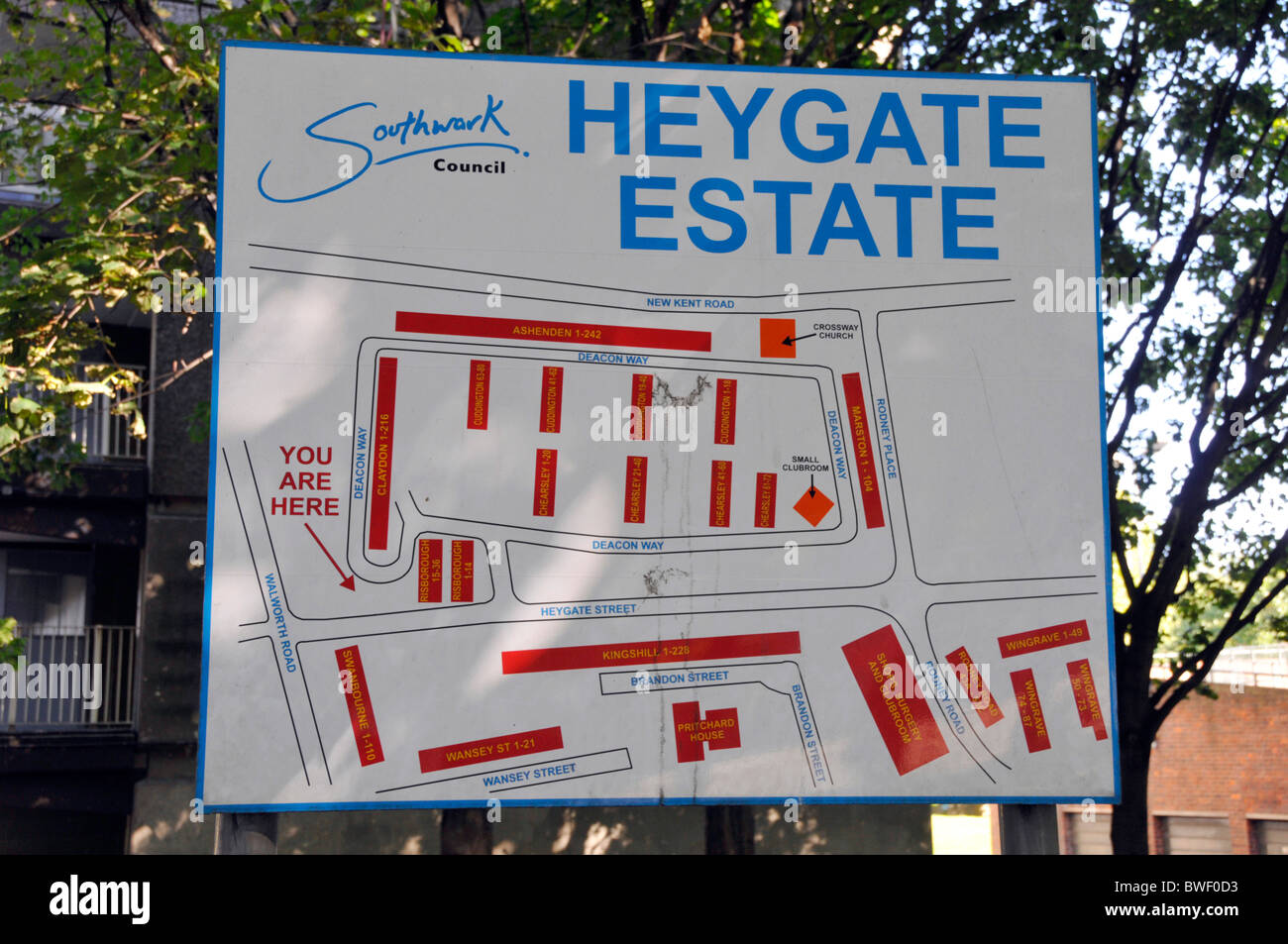 Sign & map locating various blocks of flats on infamous Heygate council housing estate Elephant & Castle - Stock Image