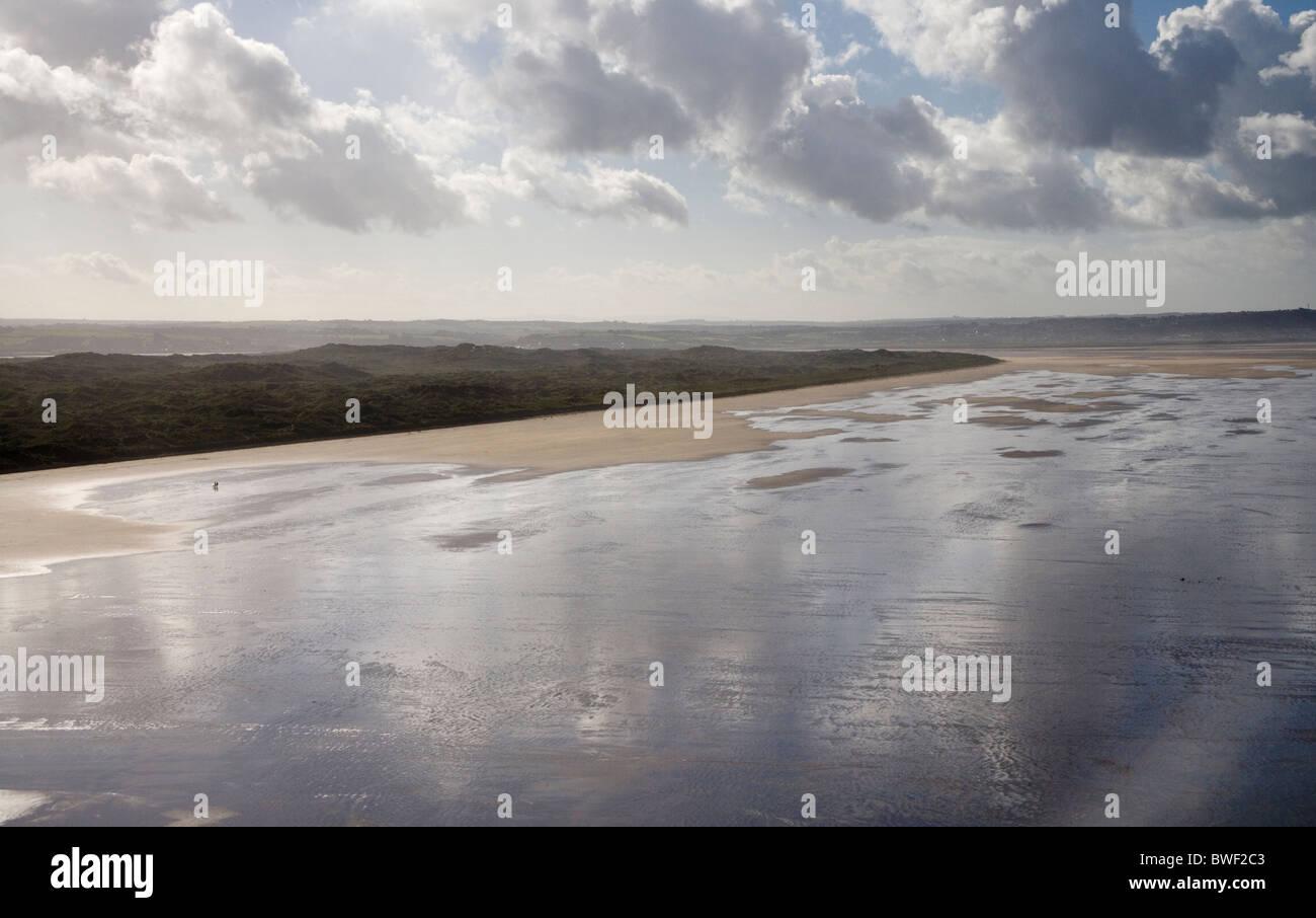 north devon coast at saunton looking towards braunton burrows Stock Photo