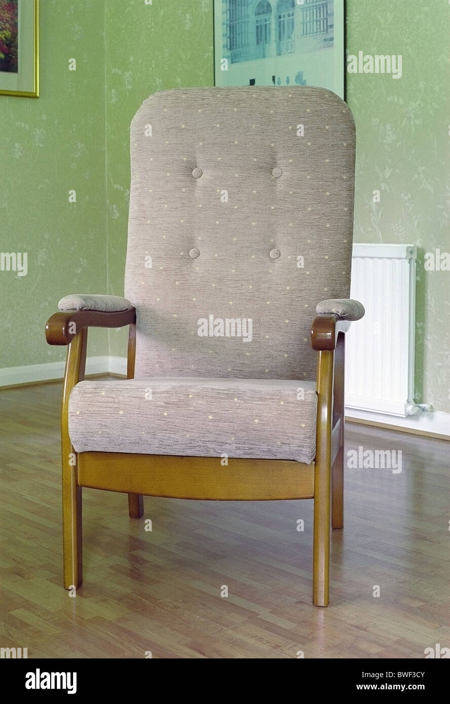 High Backed Armchair in a Home Setting - Stock Image