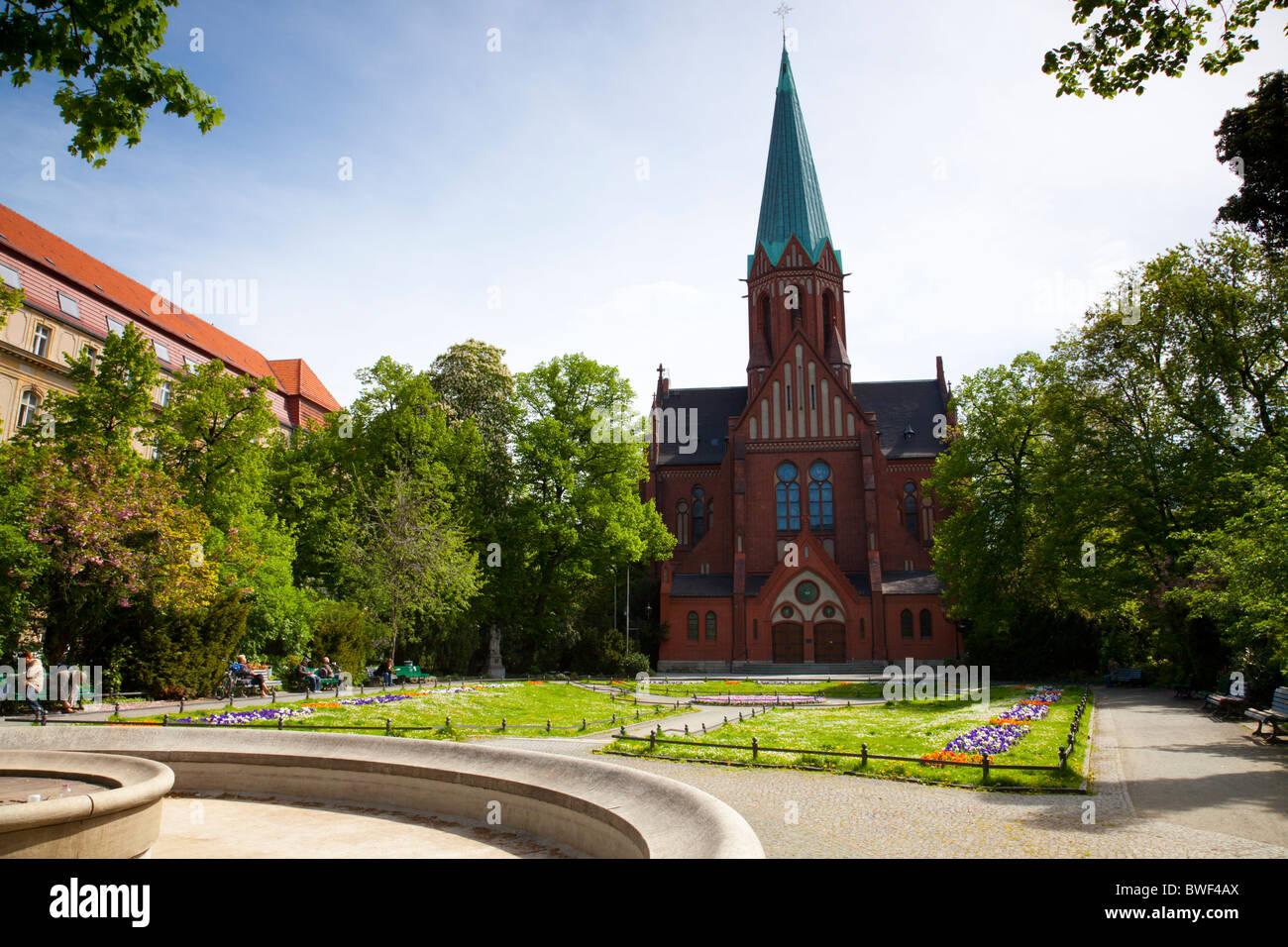St. Ludwig Kirche (St Louis Church), Wilmersdorf, Berlin Germany - Stock Image
