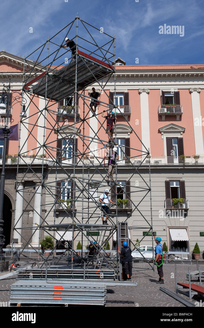 scaffolding work Naples Italy facing the Real Palace.Piazzo del plebiscito Stock Photo