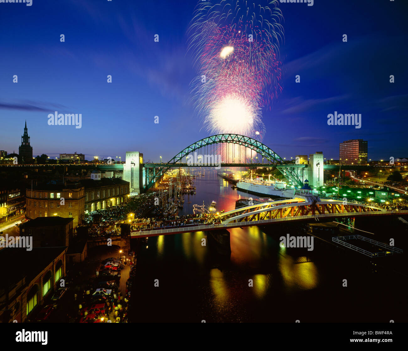 Fireworks on the River Tyne in Newcastle upon Tyne during the 1993 Tall Ships Race Festival - Stock Image