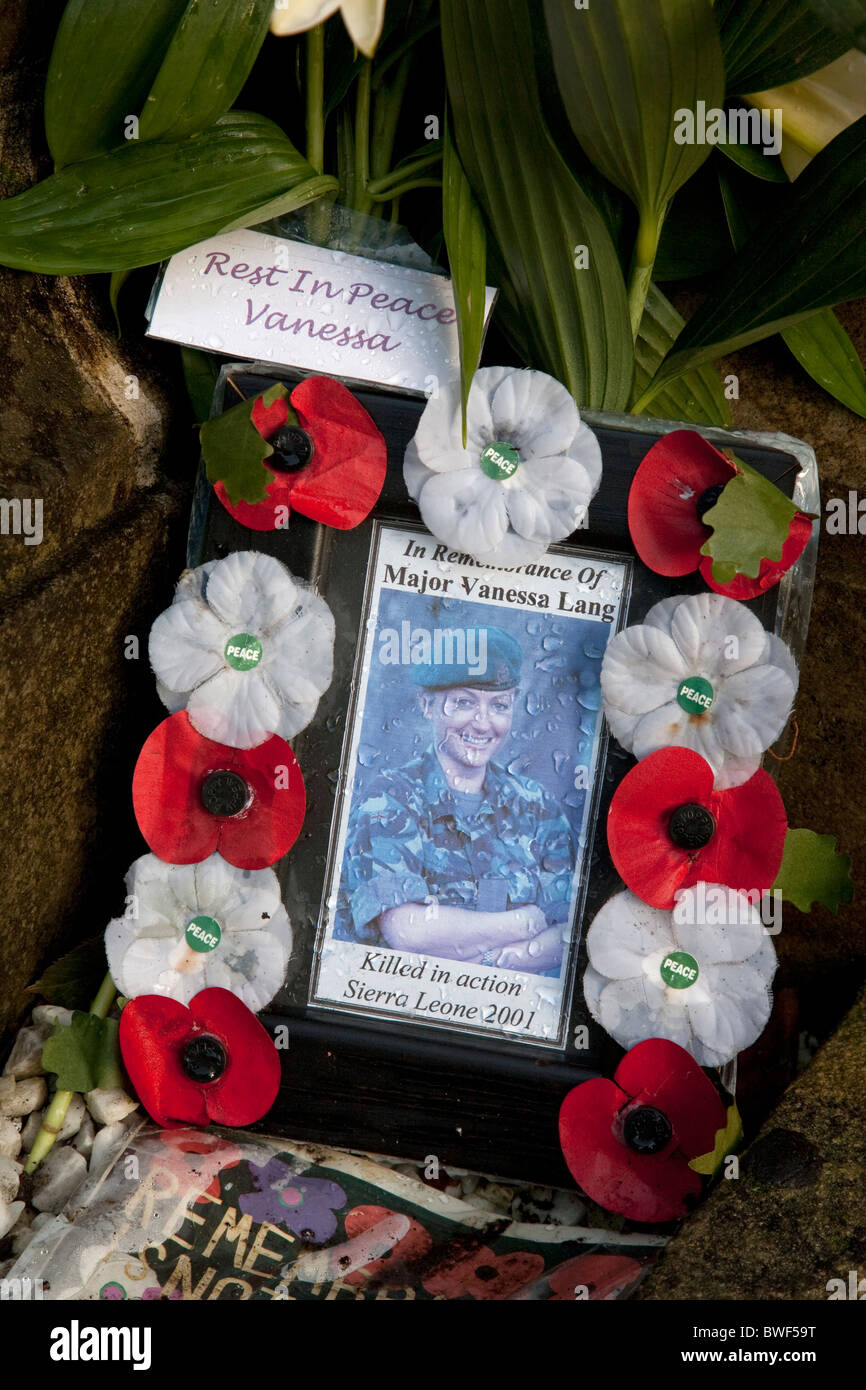 memorial to Major Vanessa Lang of the British army killed in action in war in Sierra Leone in 2001 - Stock Image