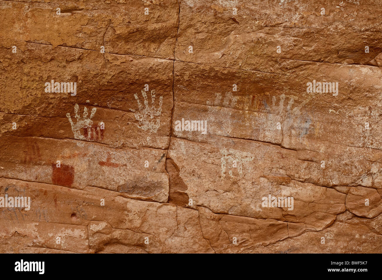About 1500 year old palm prints and drawings of Native Americans, Mystery Valley, Arizona, USA - Stock Image