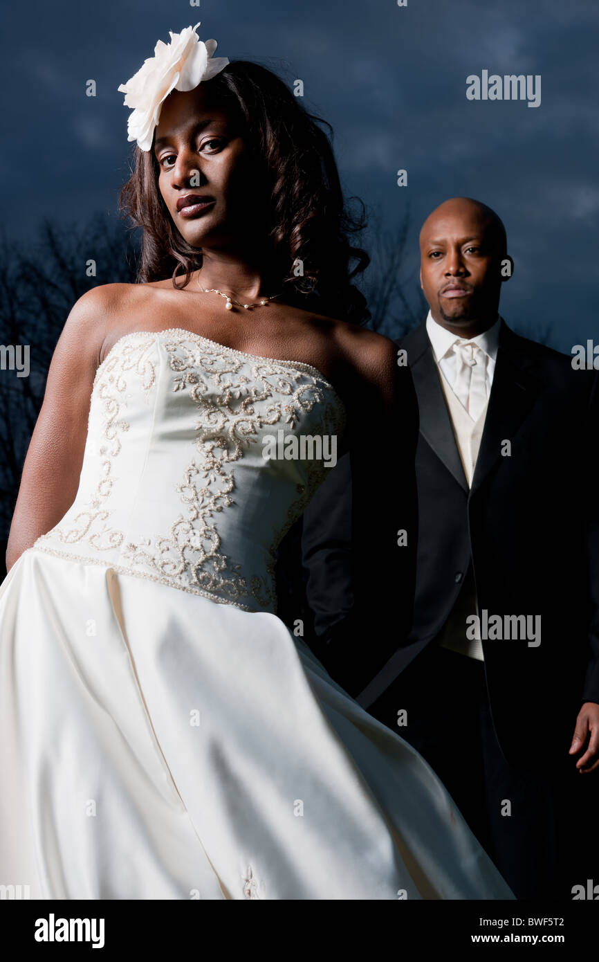African American Wedding couple with Dress and Tuxedo Stock Photo ...