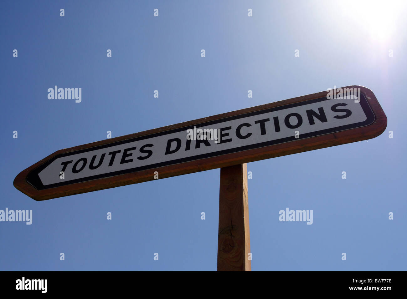 A sign TOUTES DIRECTIONS (all directions), Tignes, France - Stock Image