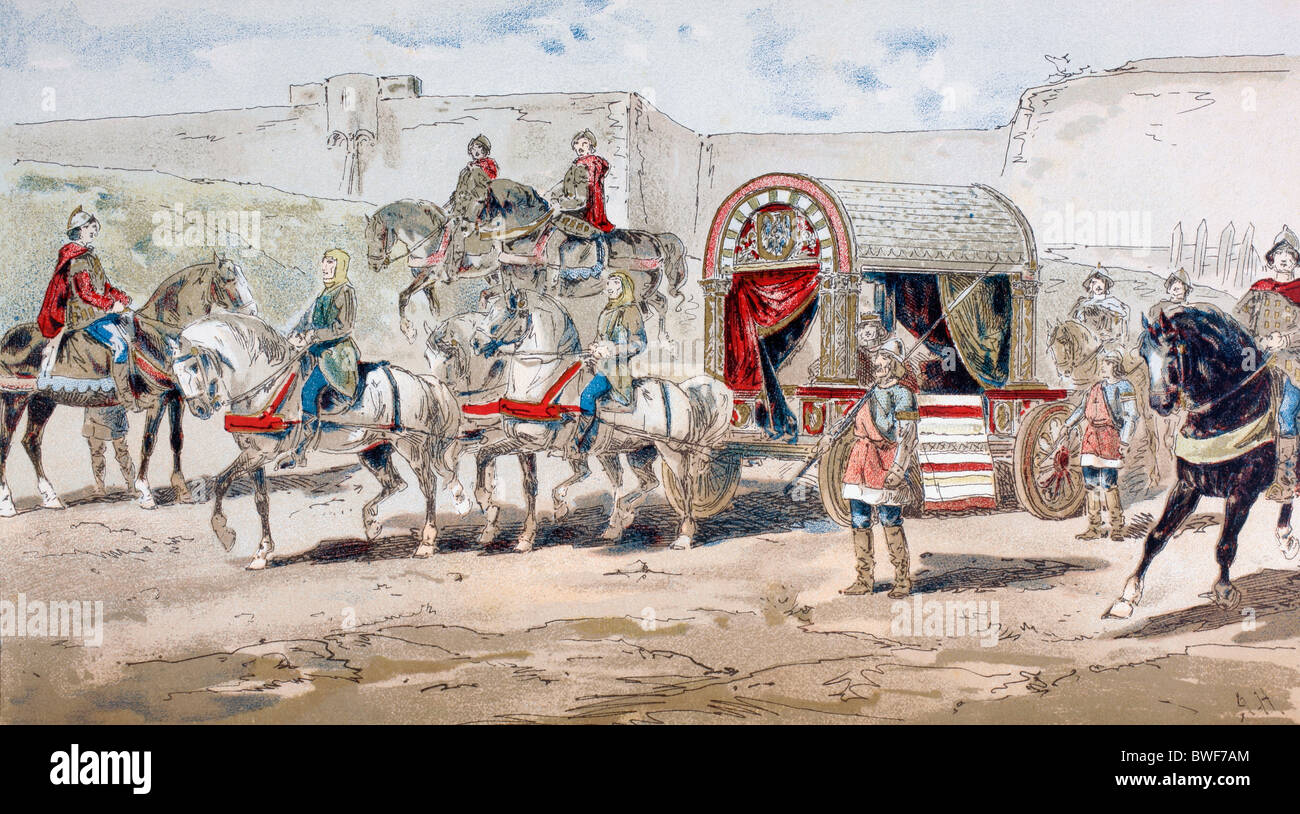 A horse drawn royal coach in the 9th century. - Stock Image