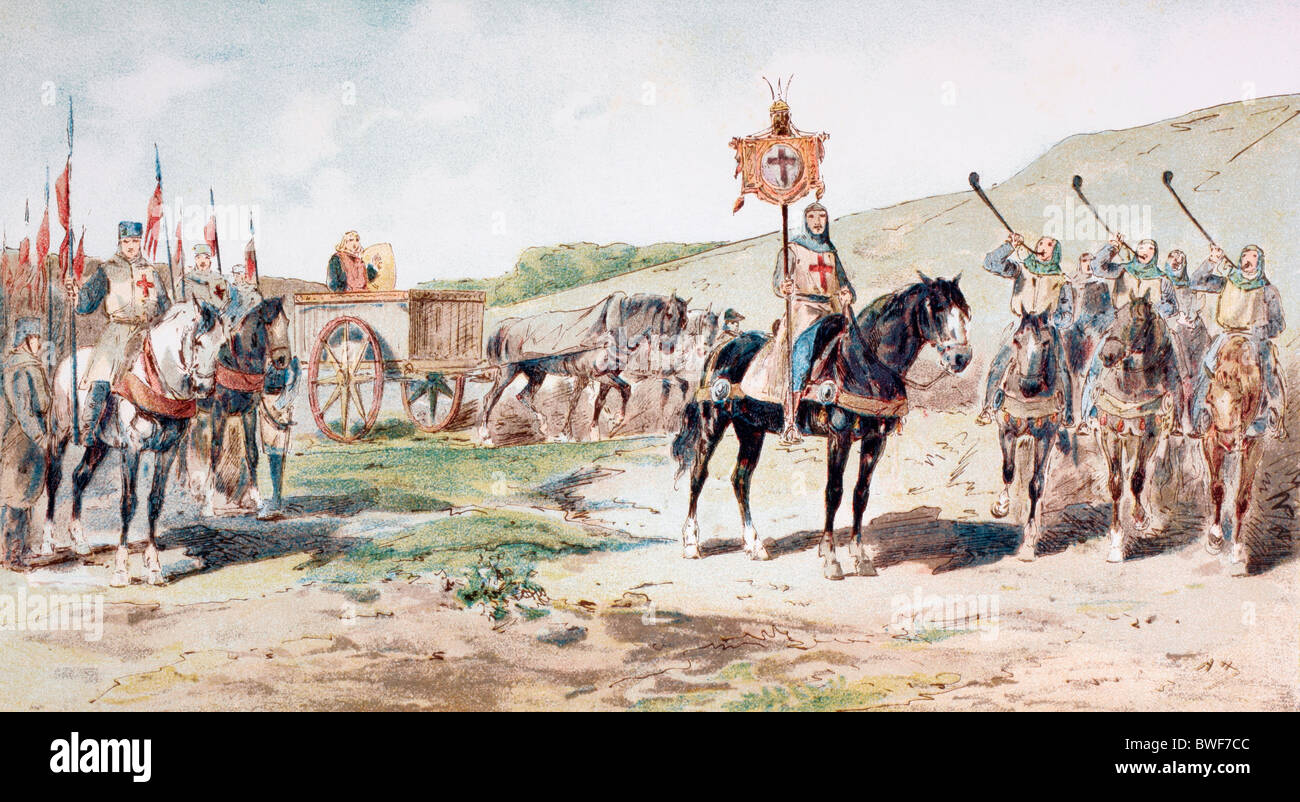 Crusaders on the march in the 11th century with a horse drawn supply wagon. - Stock Image
