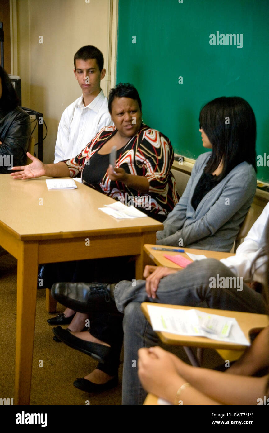 Students Of Asian African American And Caucasian Ethnicity Participate In A Class Discussion At California Community College