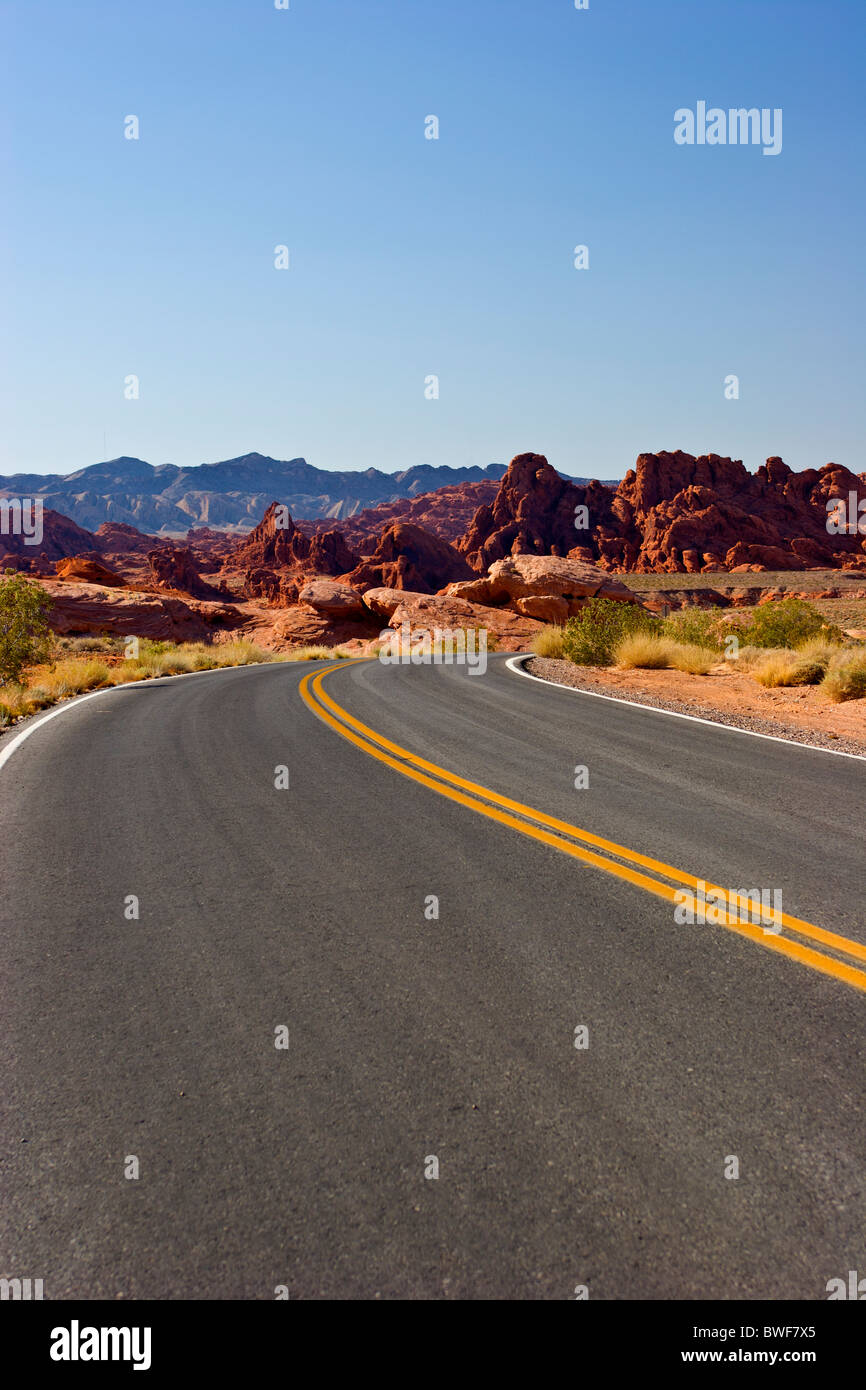 Valley of Fire Hwy. Nevada USA. Empty Paved Road - Stock Image