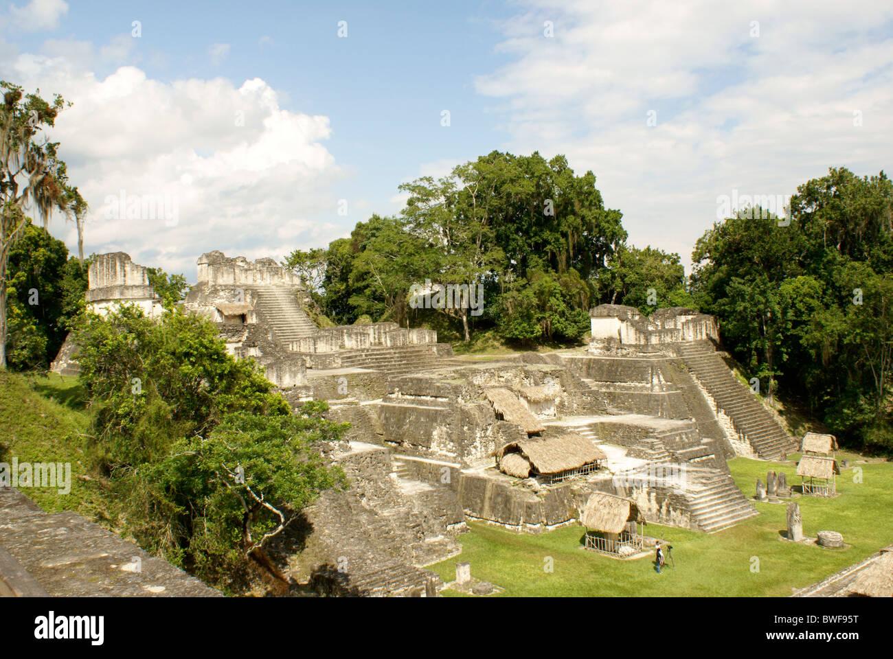 Central Acropolis at the Maya ruins of Tikal, El Peten, Guatemala. Tikal is a UNESCO World Heritage Site. - Stock Image