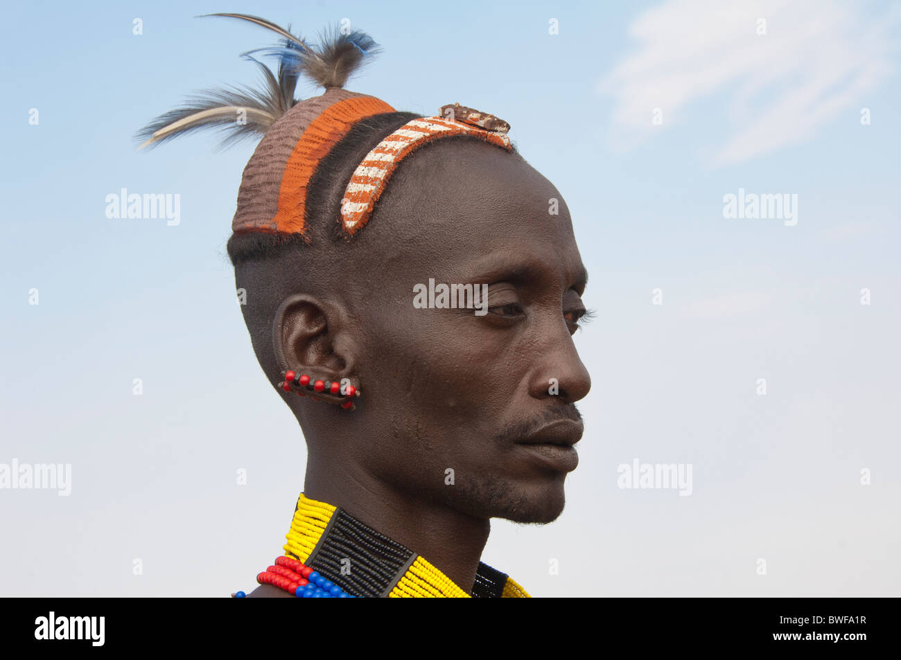 Portrait of a Hamar man with traditional hairstyle made of clay and feathers, Omo river valley, Southern Ethiopia - Stock Image