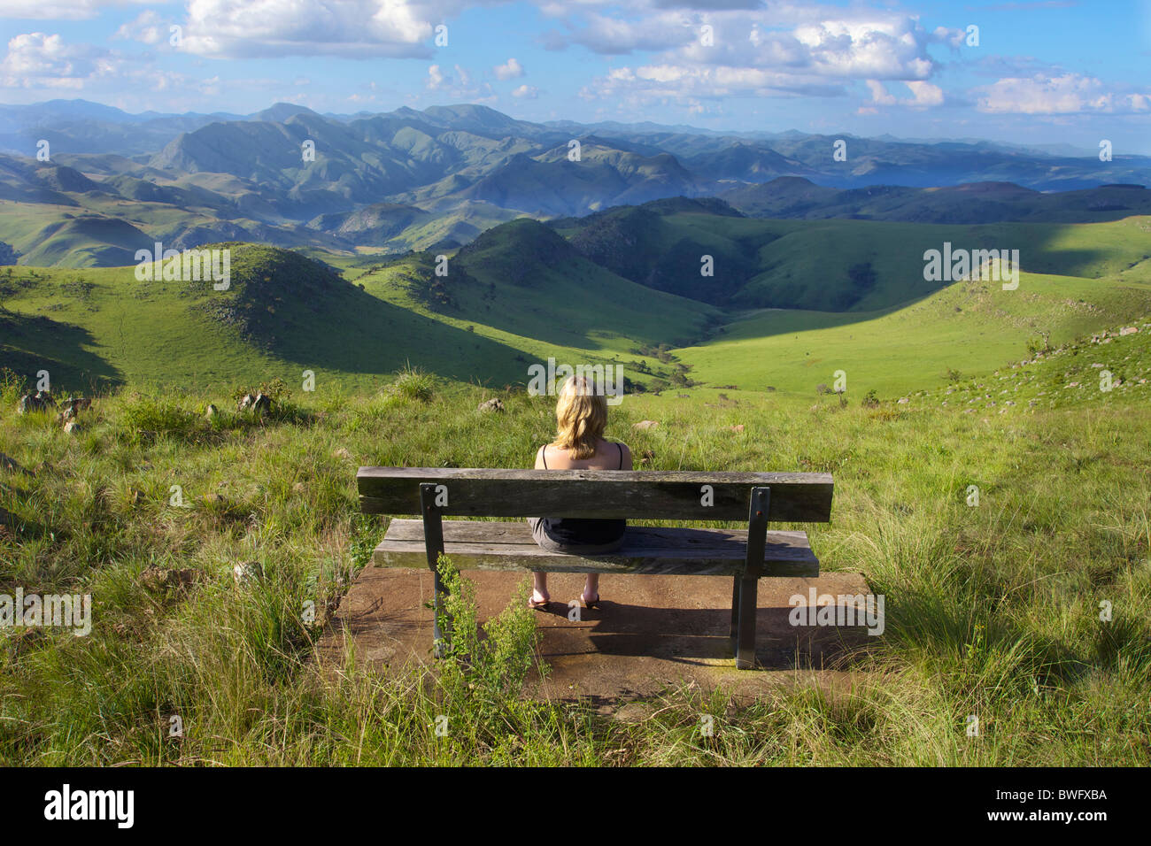 Woman looking at view, Malolotja Nature Reserve, Swaziland - Stock Image