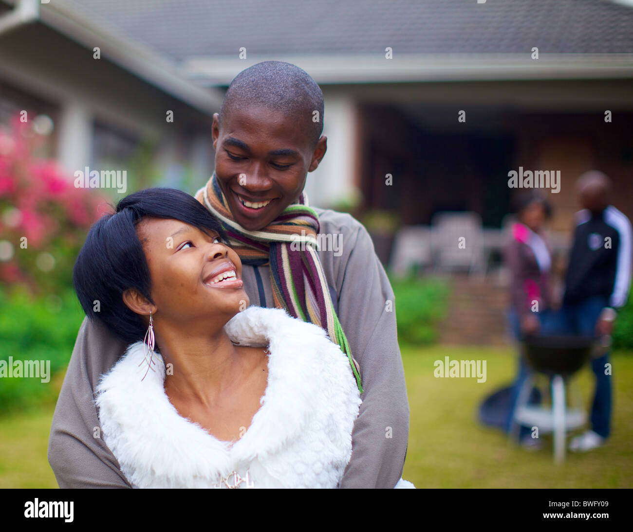 Young couple looking at each other, KwaZulu-Natal, South Africa - Stock Image